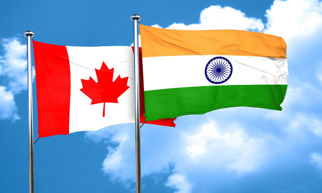 Two flag poles were raised with Canada and India's National Flag on it.