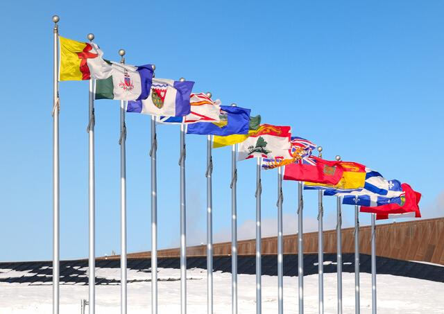 An image of multiple National Flags raised in one place.
