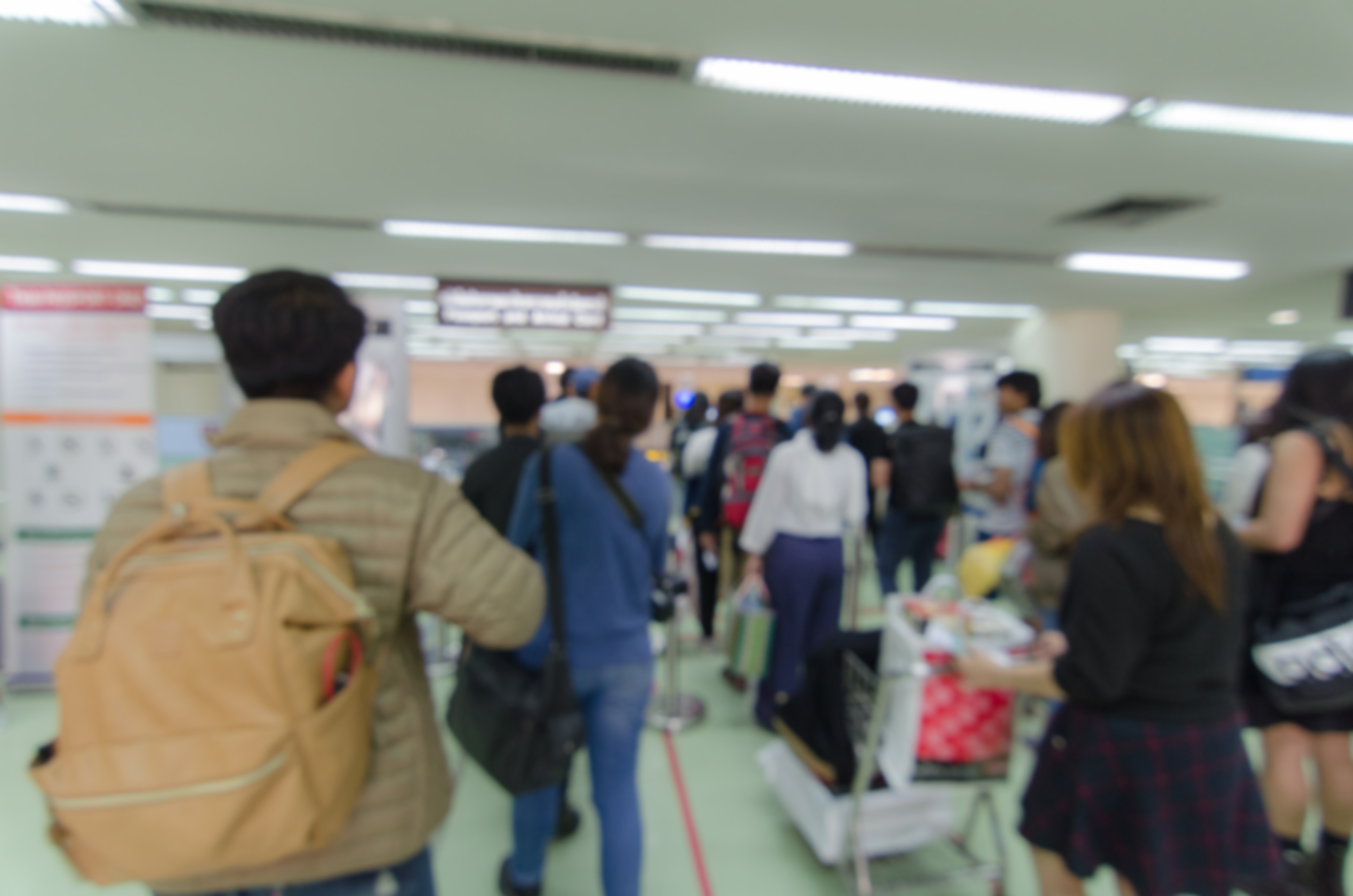 Crowded immigration line