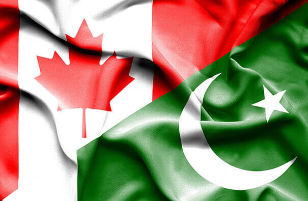 Canadian and Pakistani flags together