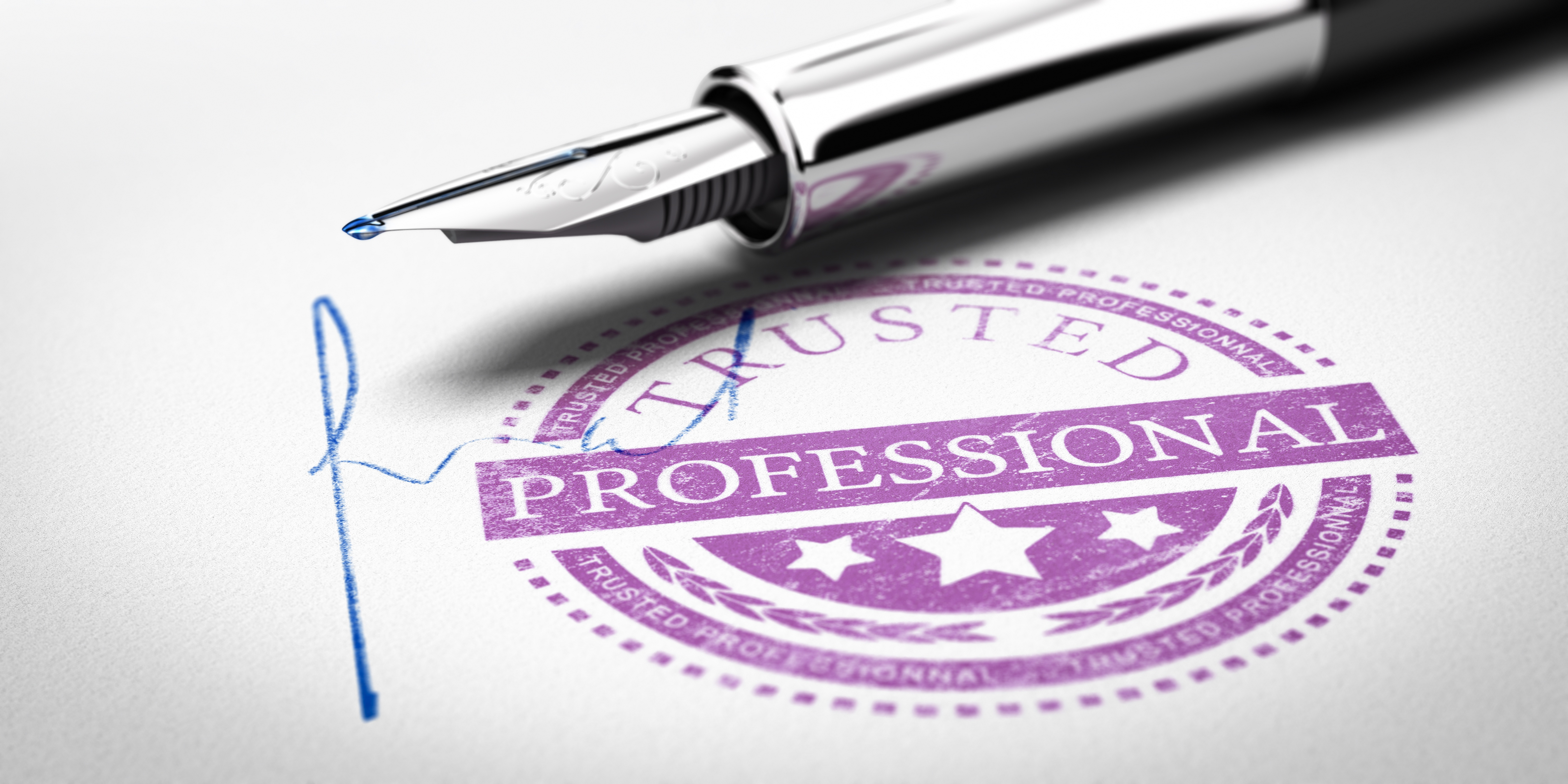 pen and official trusted professional stamp