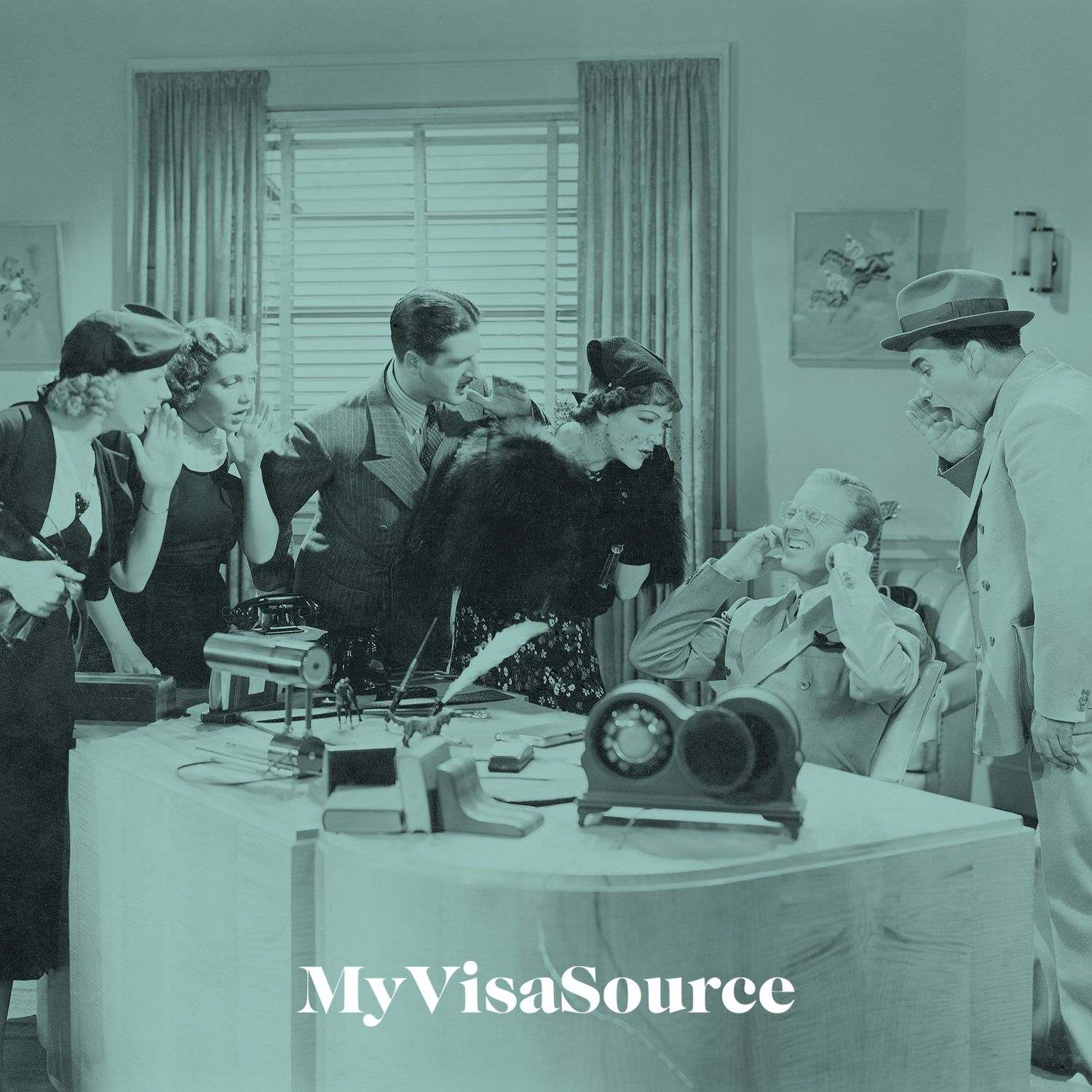 1950s office scene with everyone dressed in those days clothing my visa source