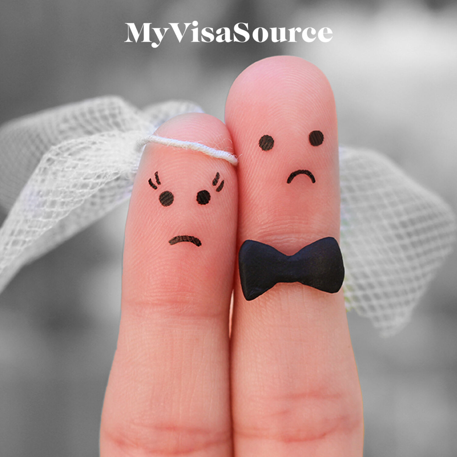 2 fingers dressed as married couple with unhappy faces drawn on my visa source