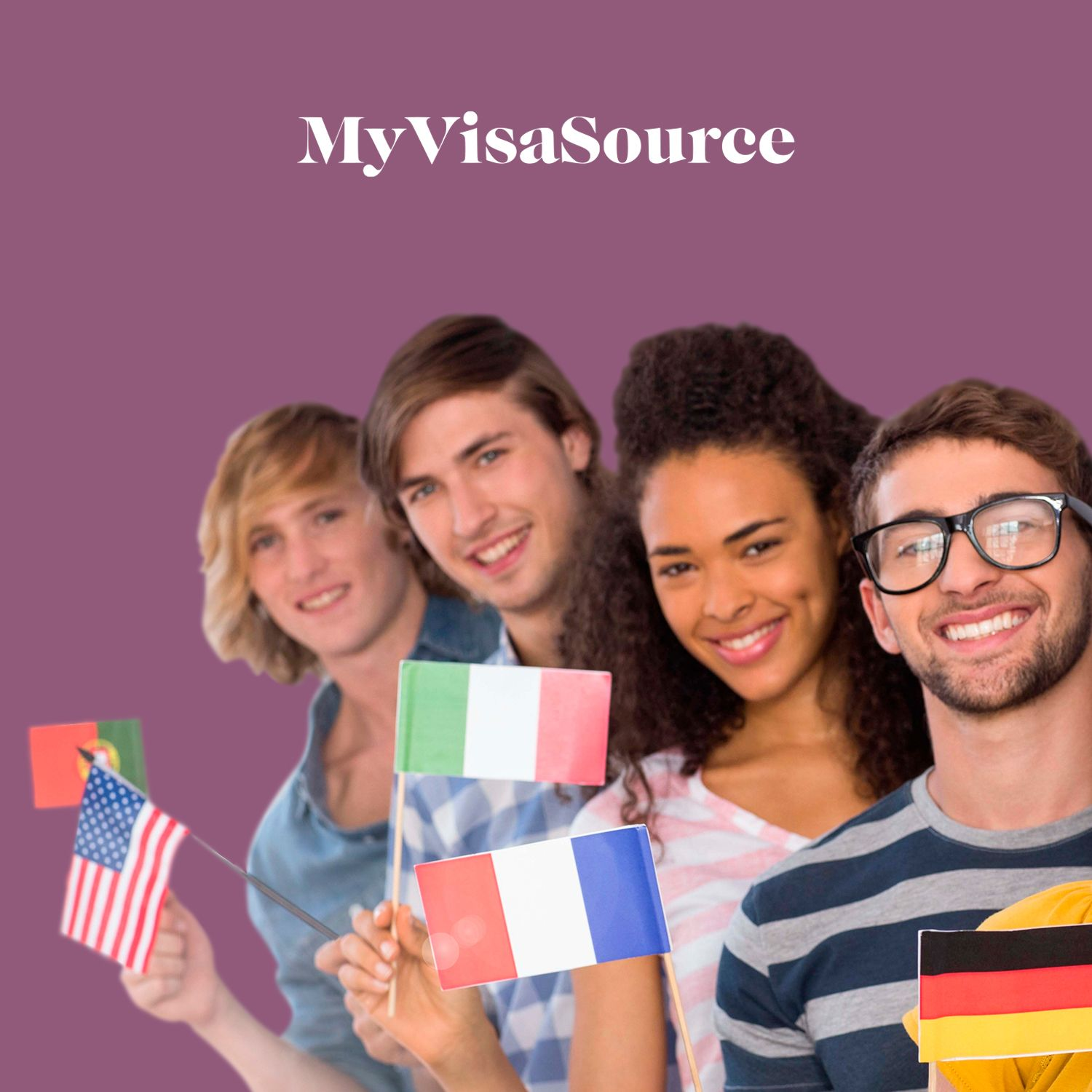 4 international students holding different country flags my visa source