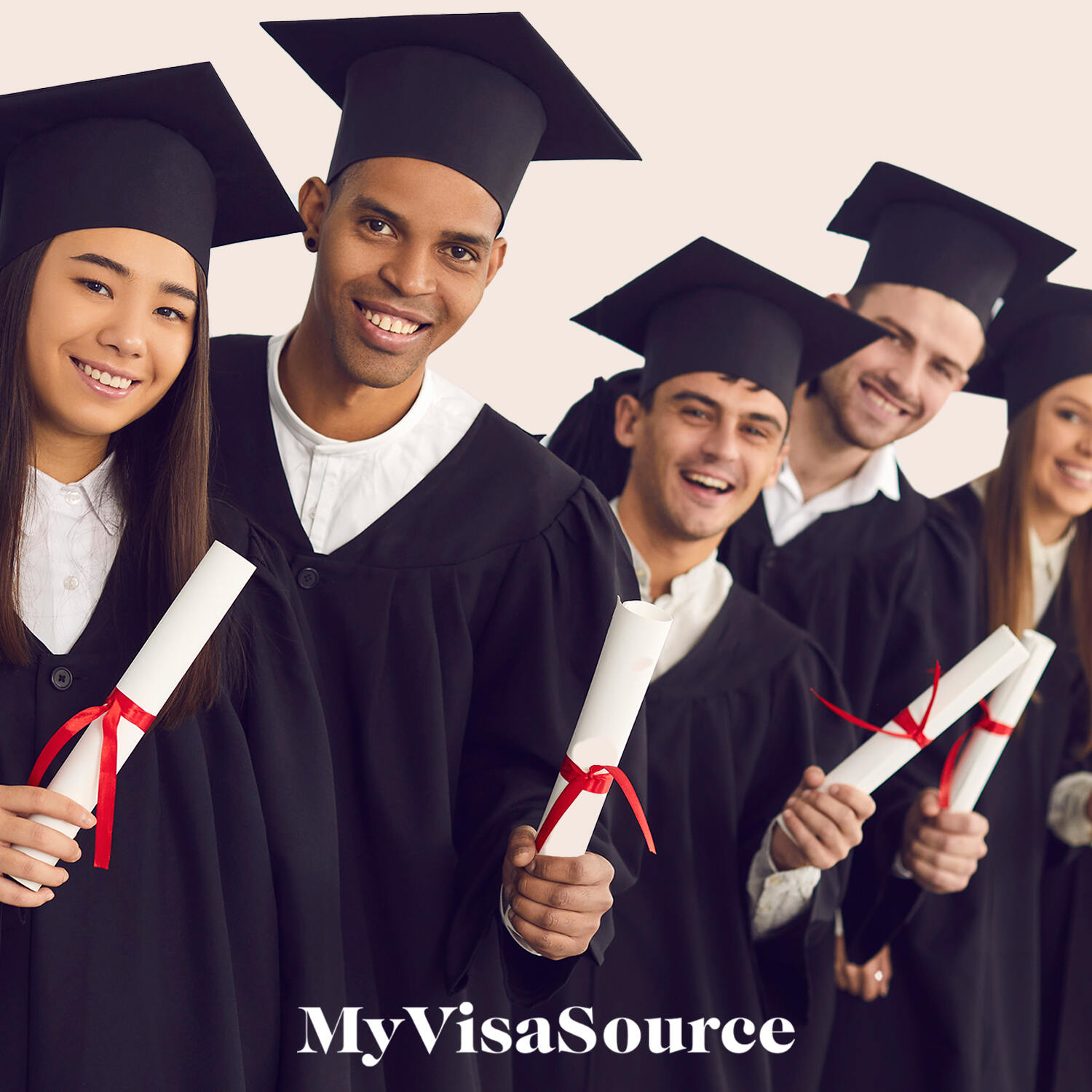 5 graduates holding their diplomas all in graduation clothes my visa source