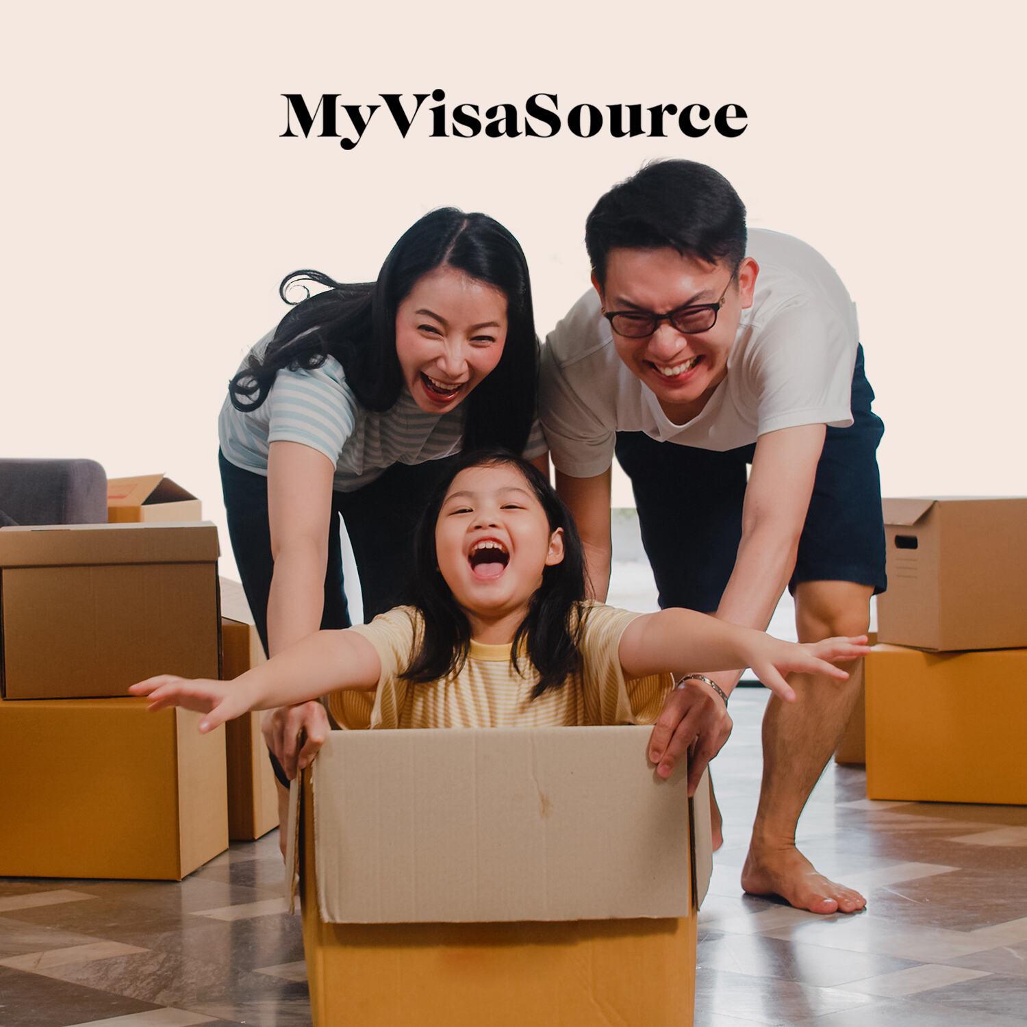 asian family pushing daughter in a box