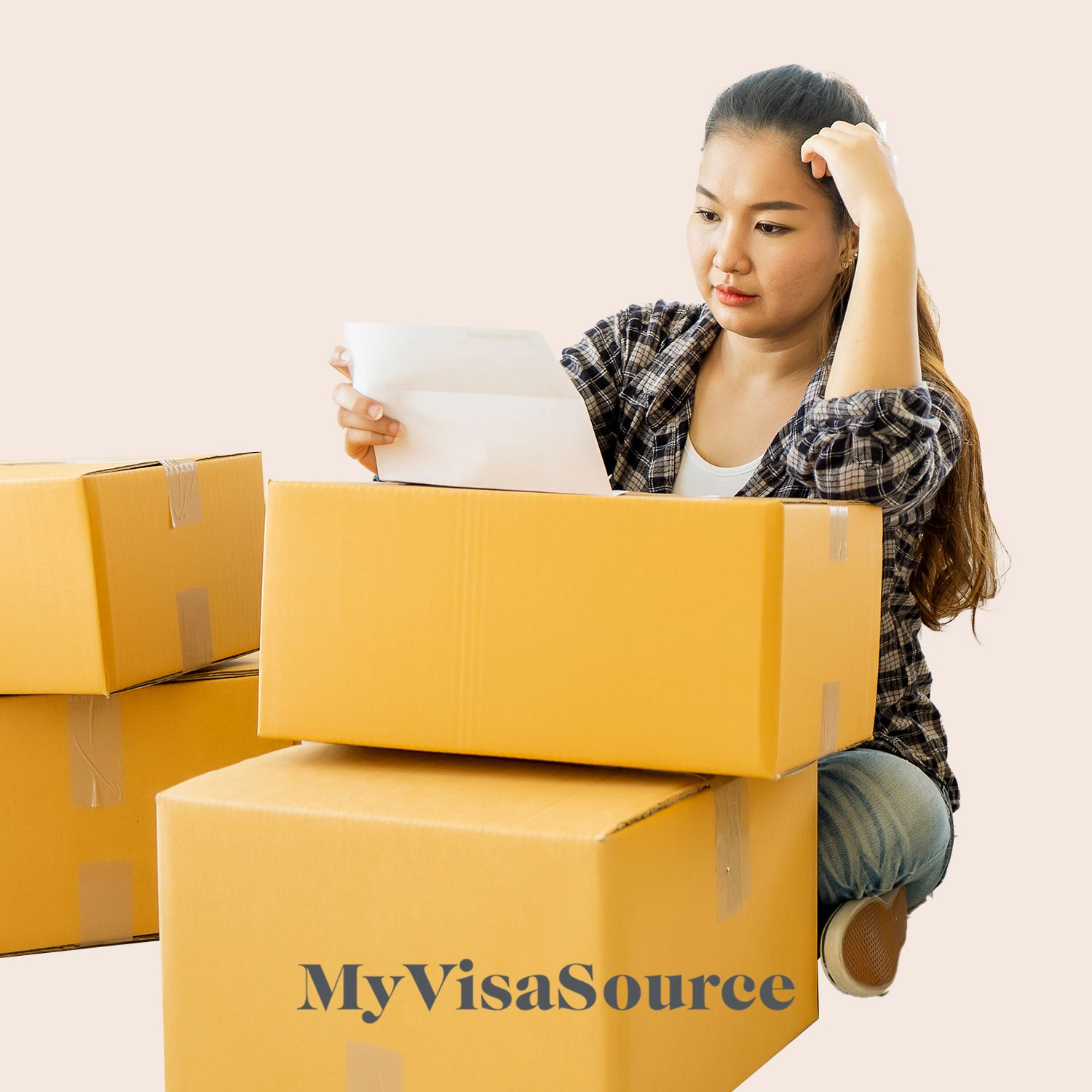 asian woman going through her moving checklist with boxes around her my visa source
