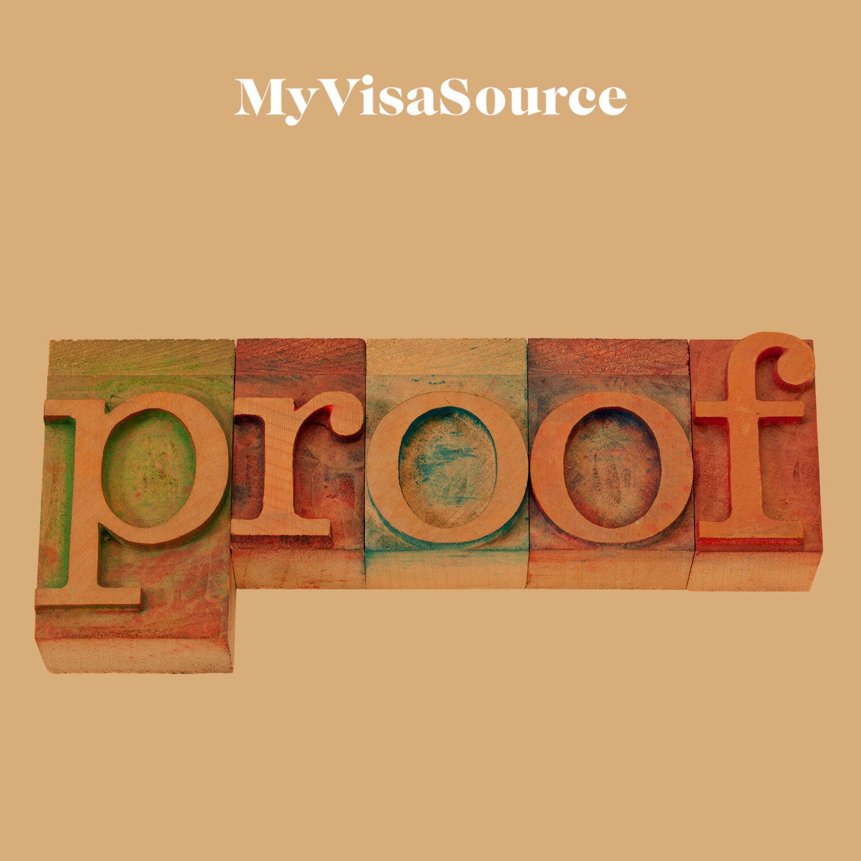 block letters spelling proof my visa source