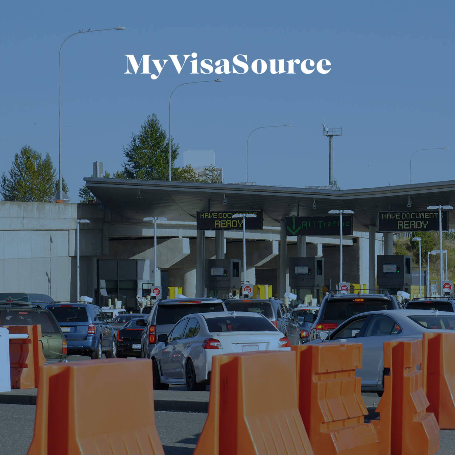 border crossing with lineups of cars my visa source