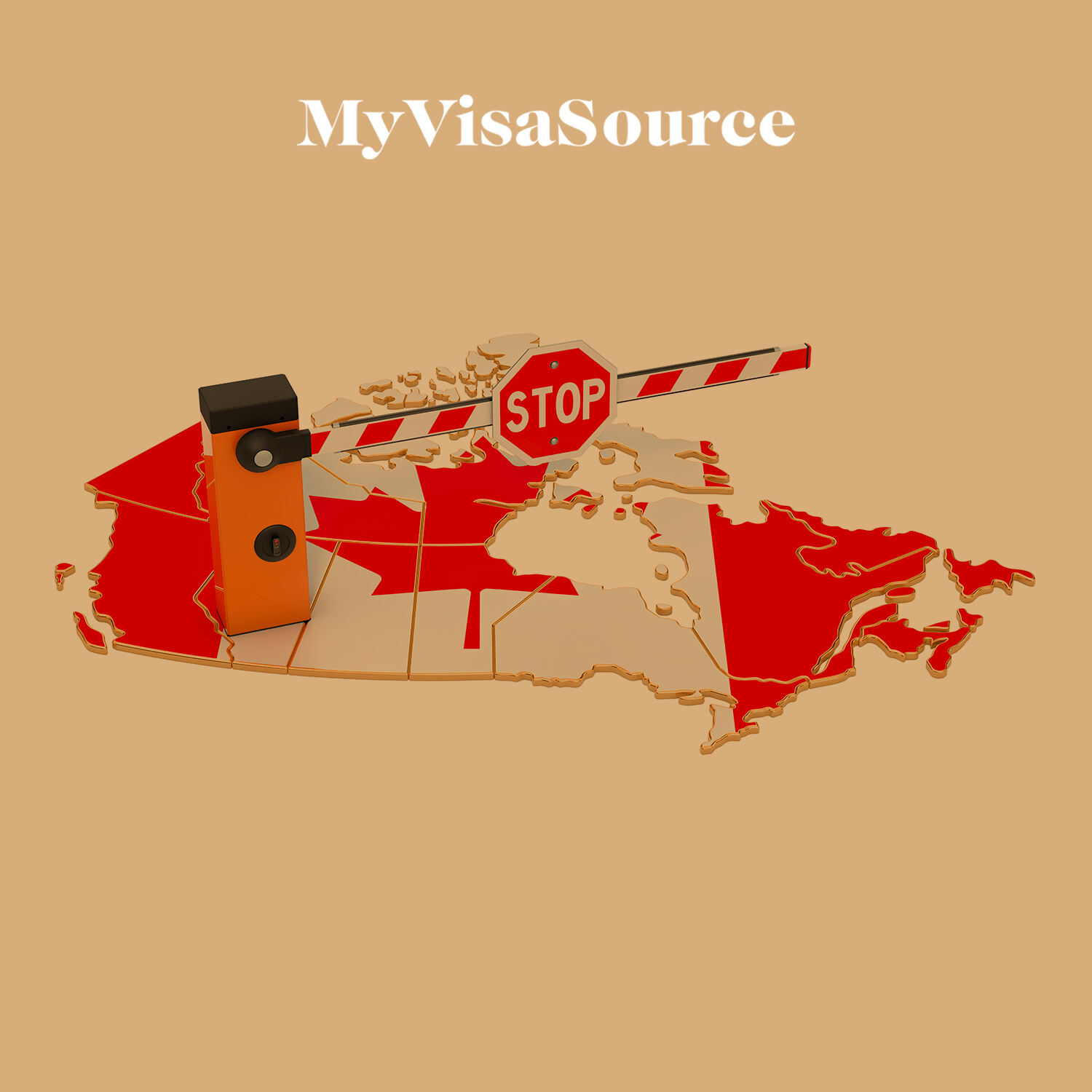 canada with a 3d stop sign and barrier my visa source