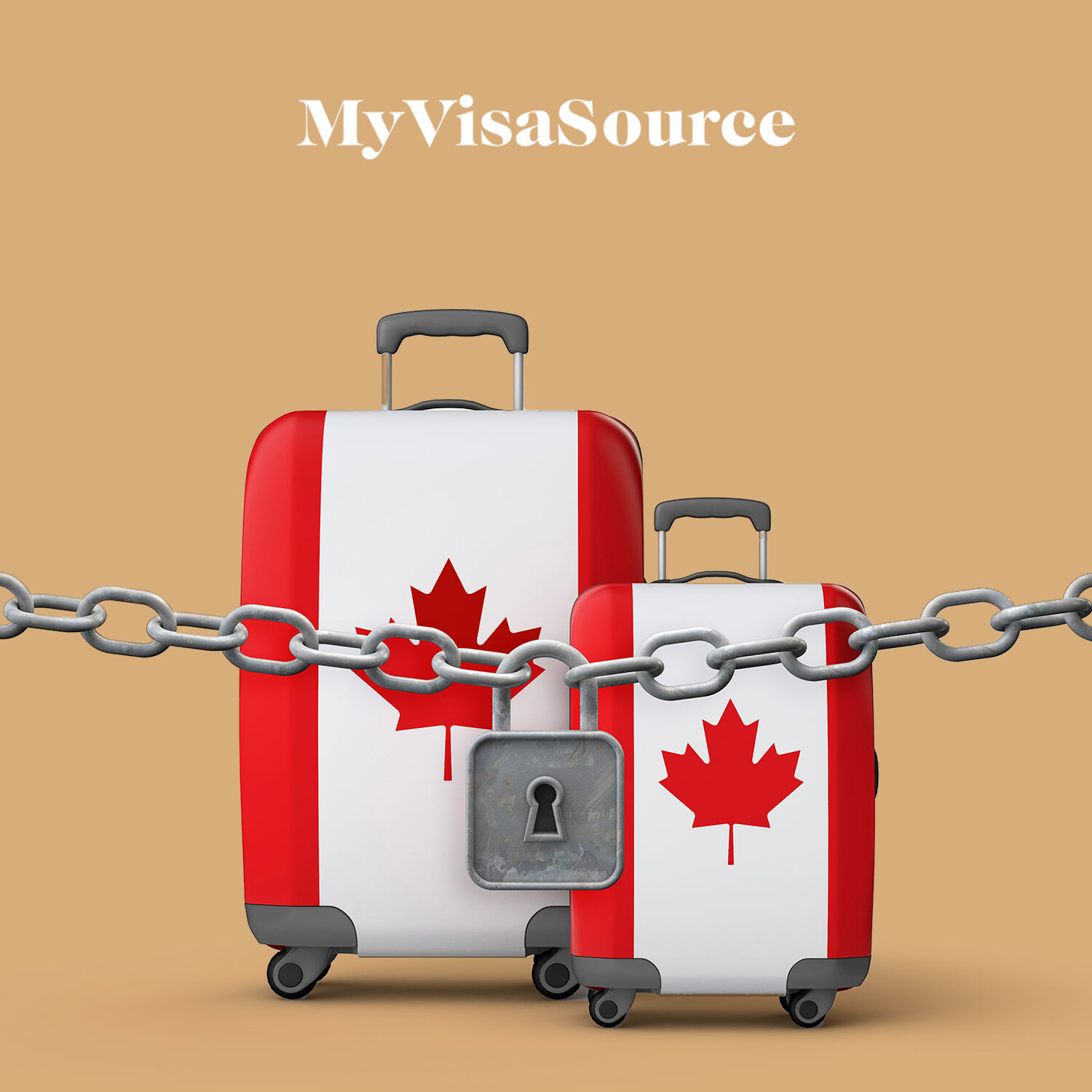 canadian flag lugguage stopped by chain with a lock my visa source