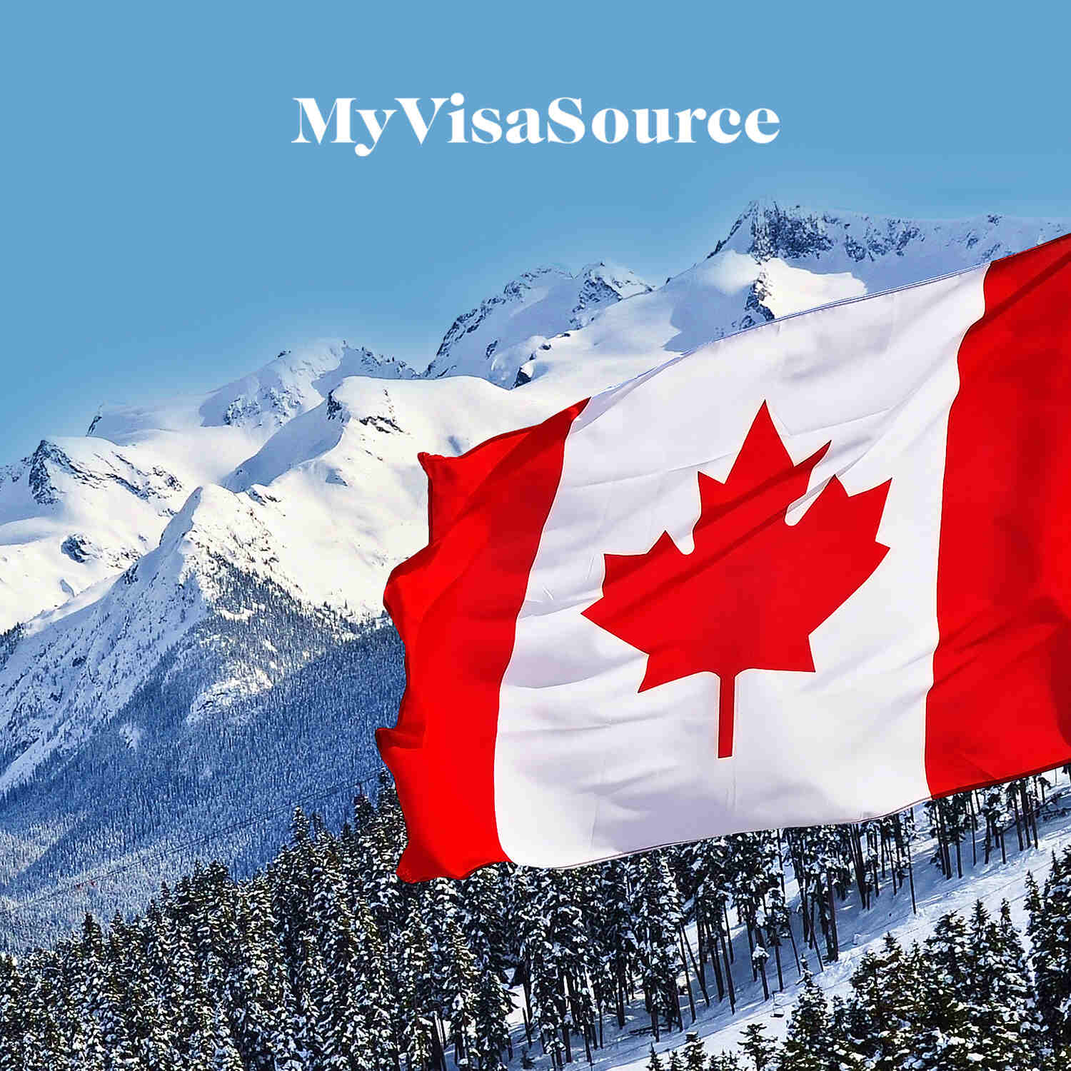 canadian flag with snowy mountain backdrop my visa source