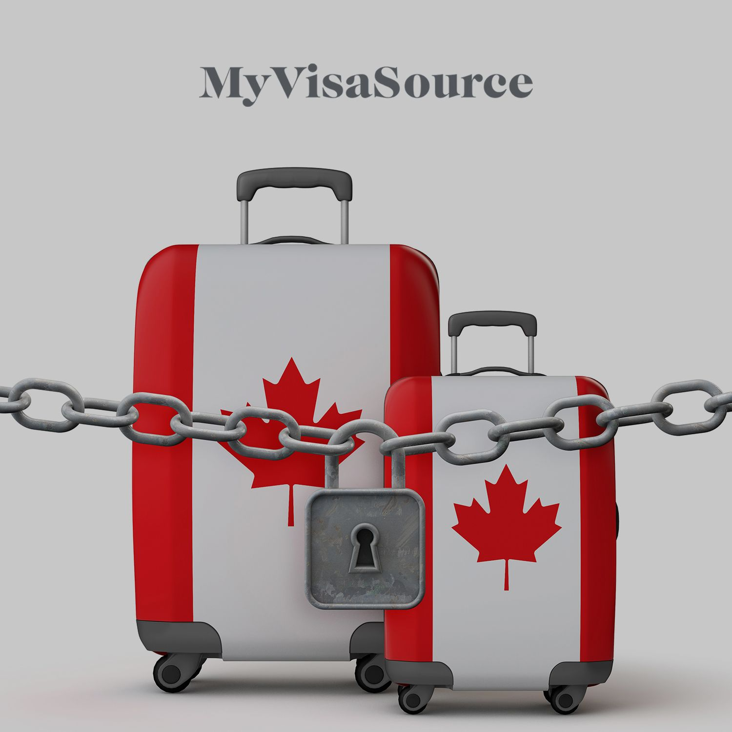 canadian flags on luggage with a locked chain in front my visa source