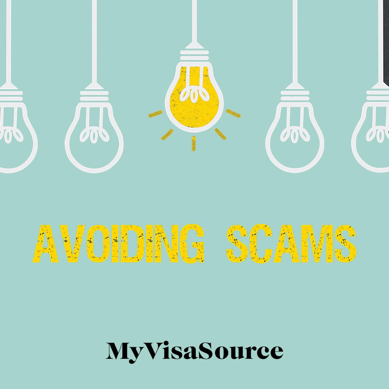cartoon 5 light bulbs with 1 lit avoiding scams written below my visa source