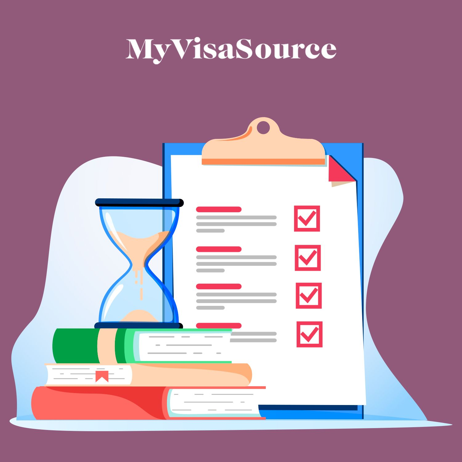 cartoon drawing of a clipboard checklist an hourglass and books my visa source