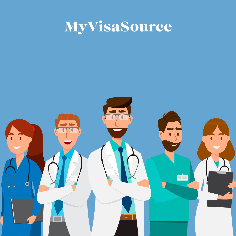 cartoon drawing of five doctors