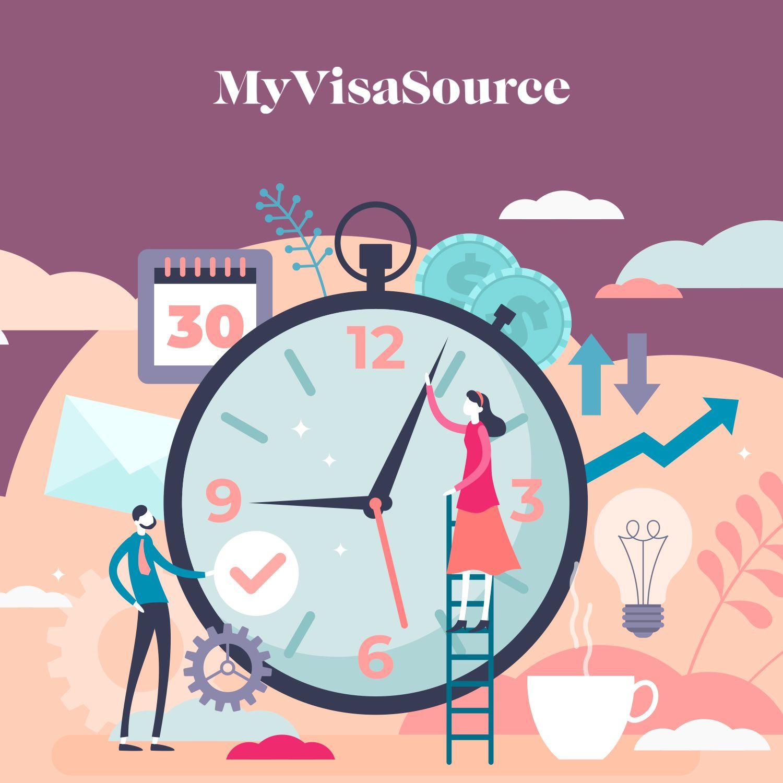 cartoon of a clock and a man and woman my visa source