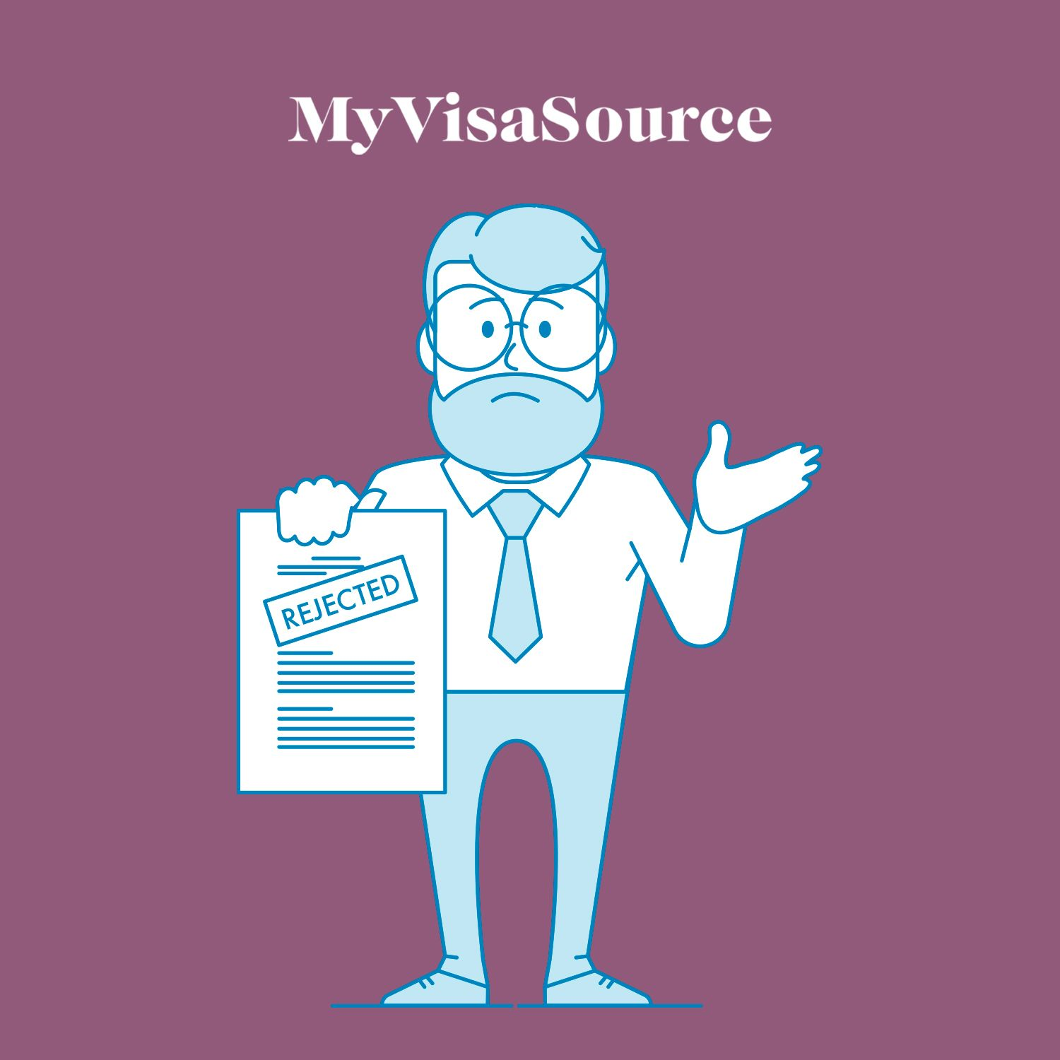 cartoon of a man holding a rejection paper my visa source