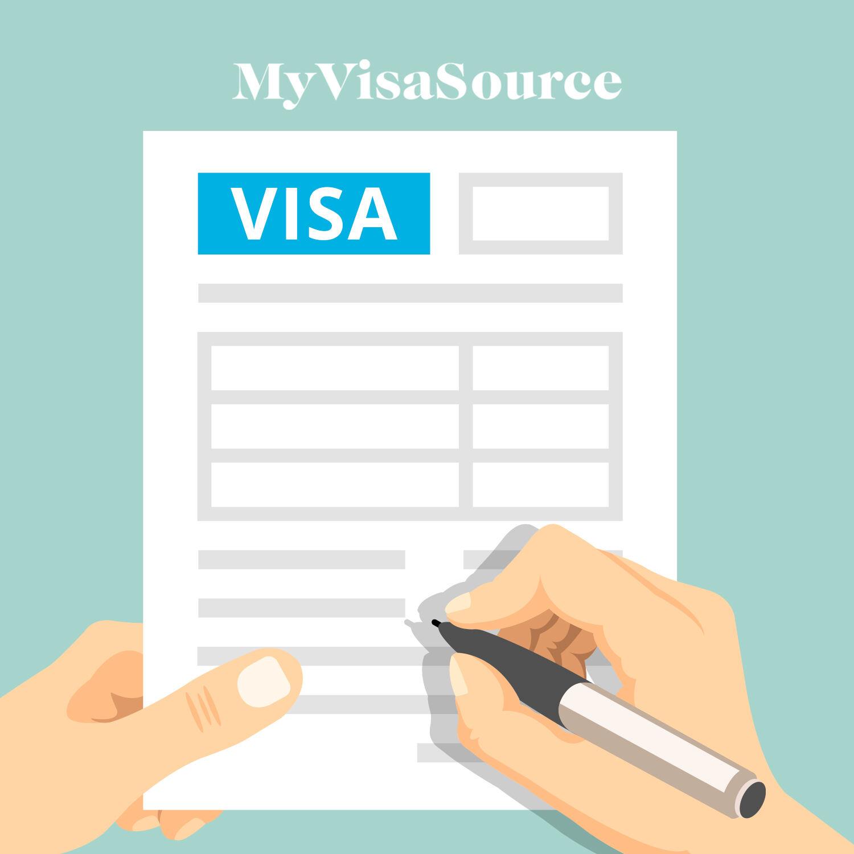 cartoon of hands filling out a visa form my visa source
