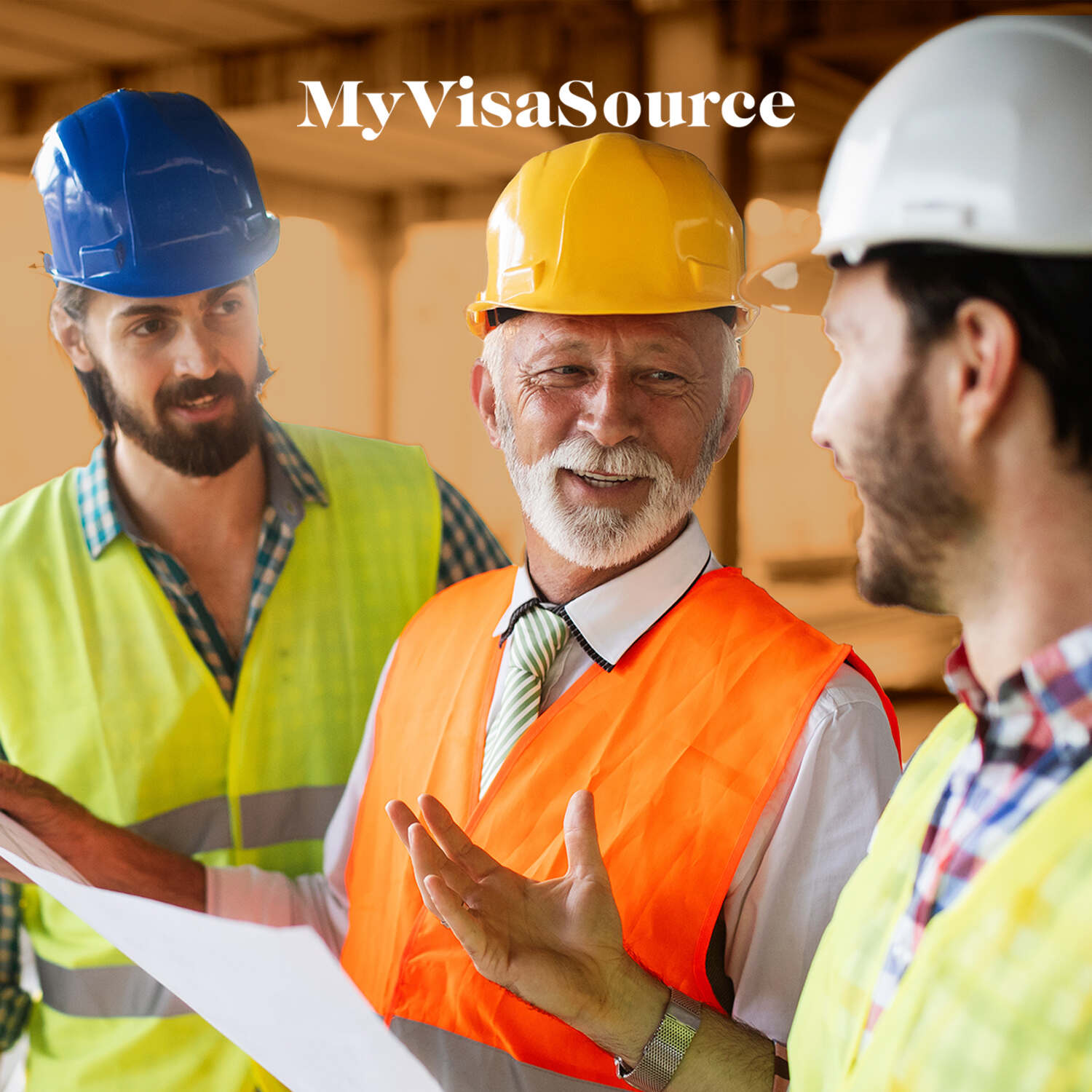 cheerful construction workers discussing work my visa source