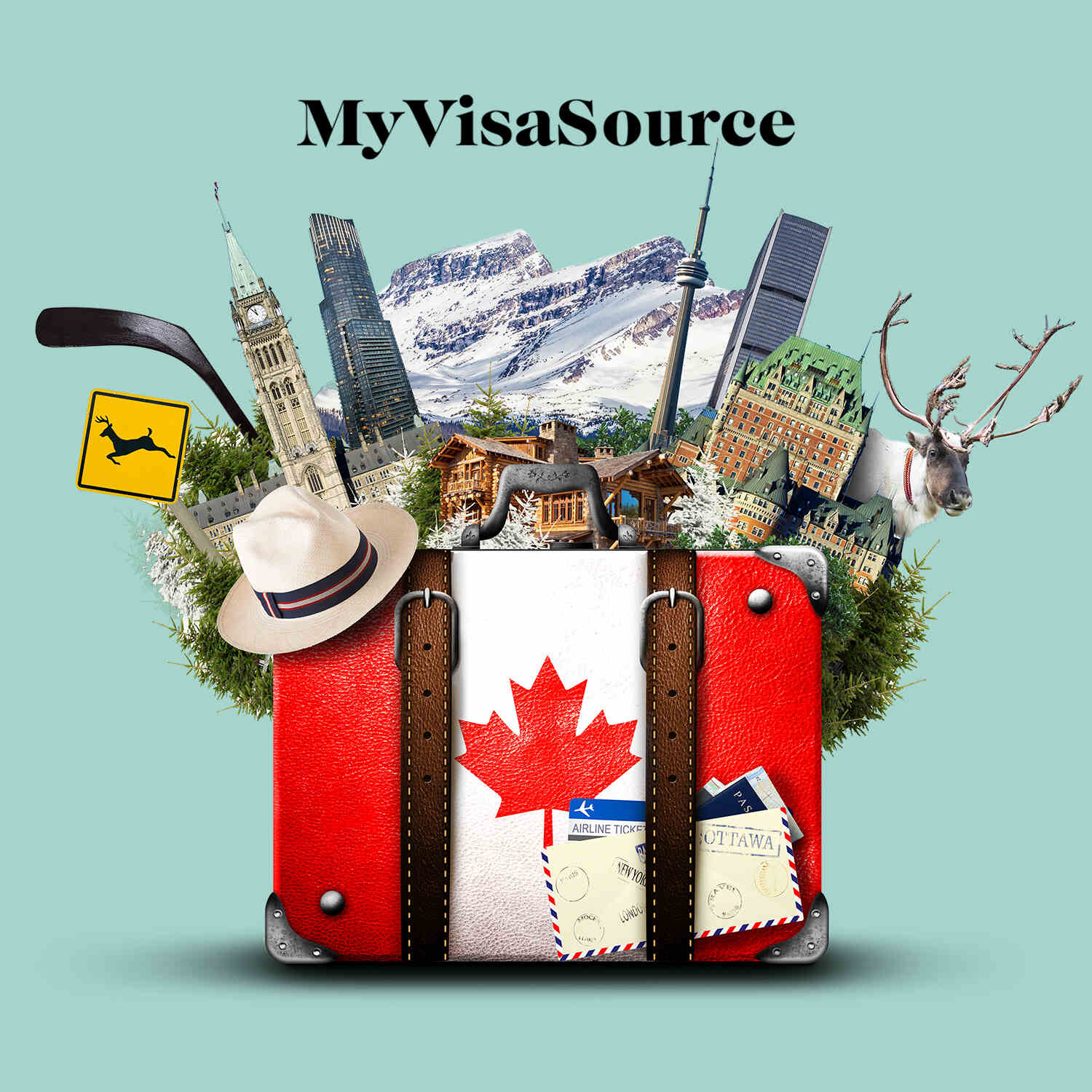 colourful collage of canadian cities and motifs with passport my visa source
