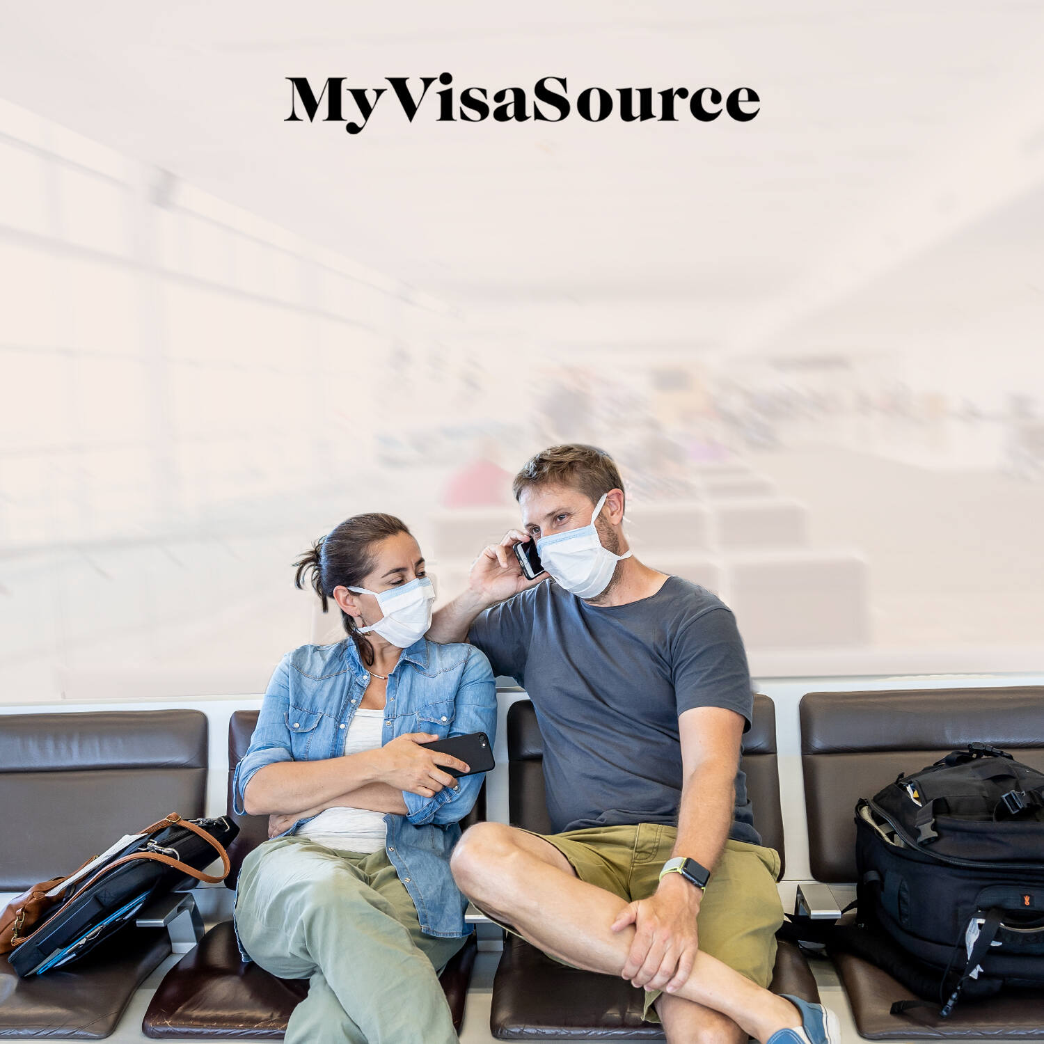 couple at the airport with covid masks on my visa source