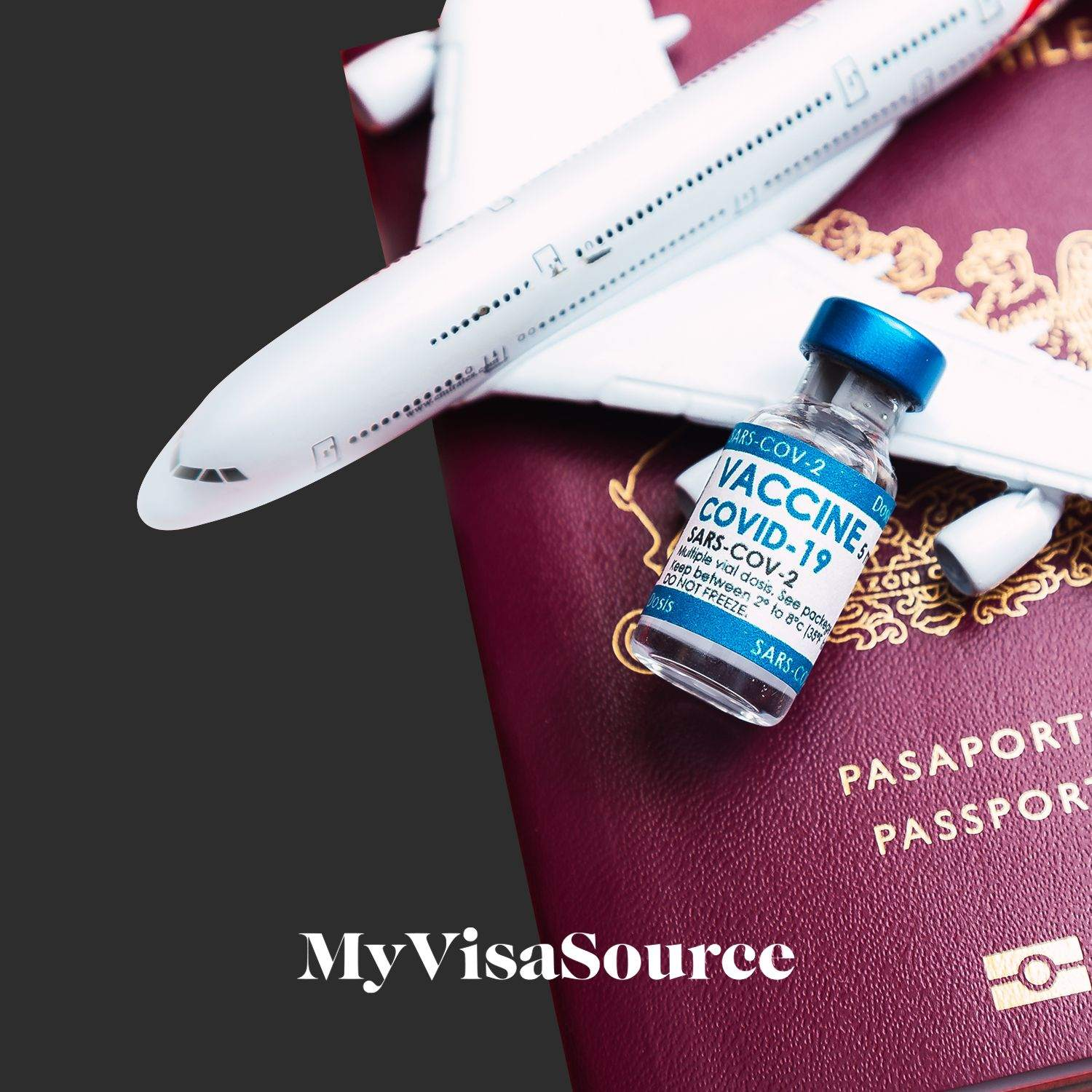 covid vaccine bottle on top of a passport my visa source