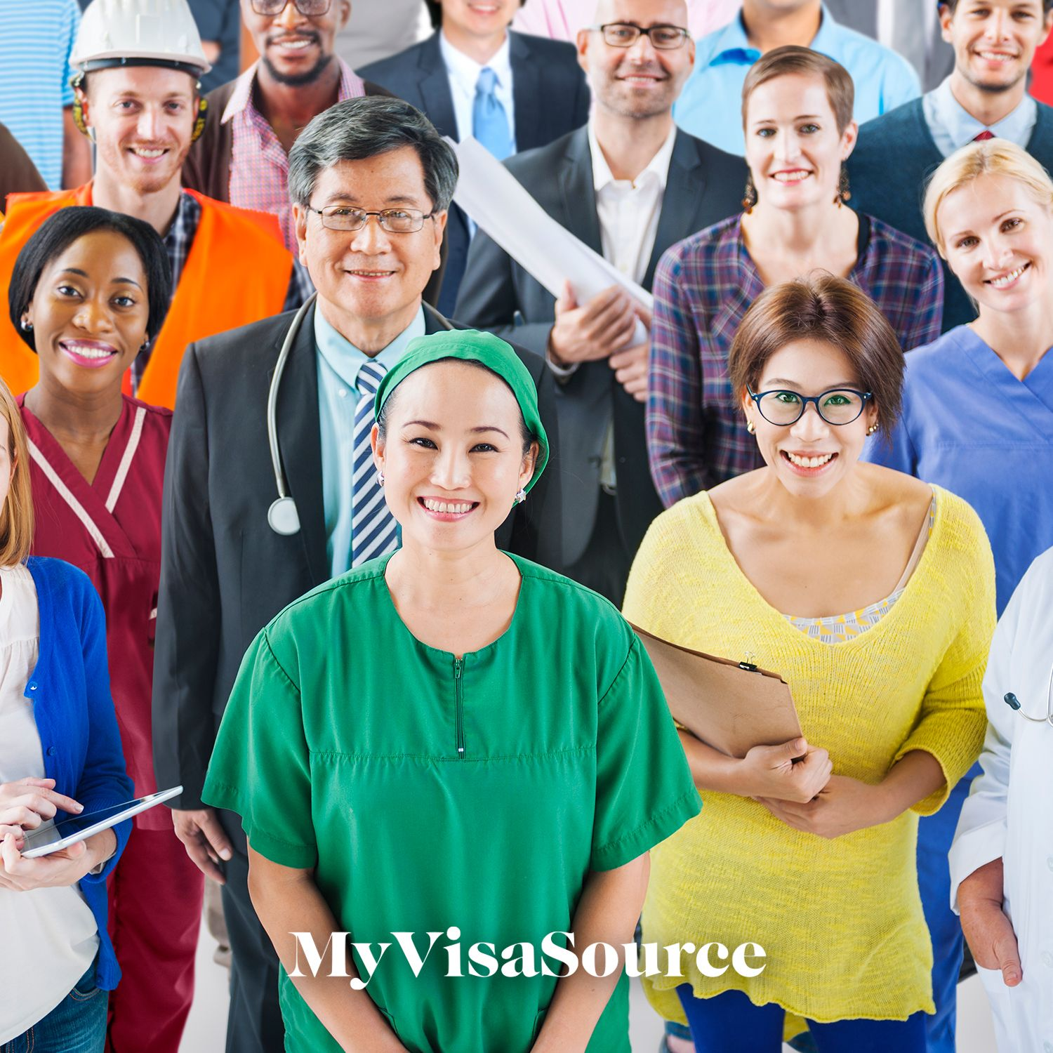 crowd of different job types of people my visa source