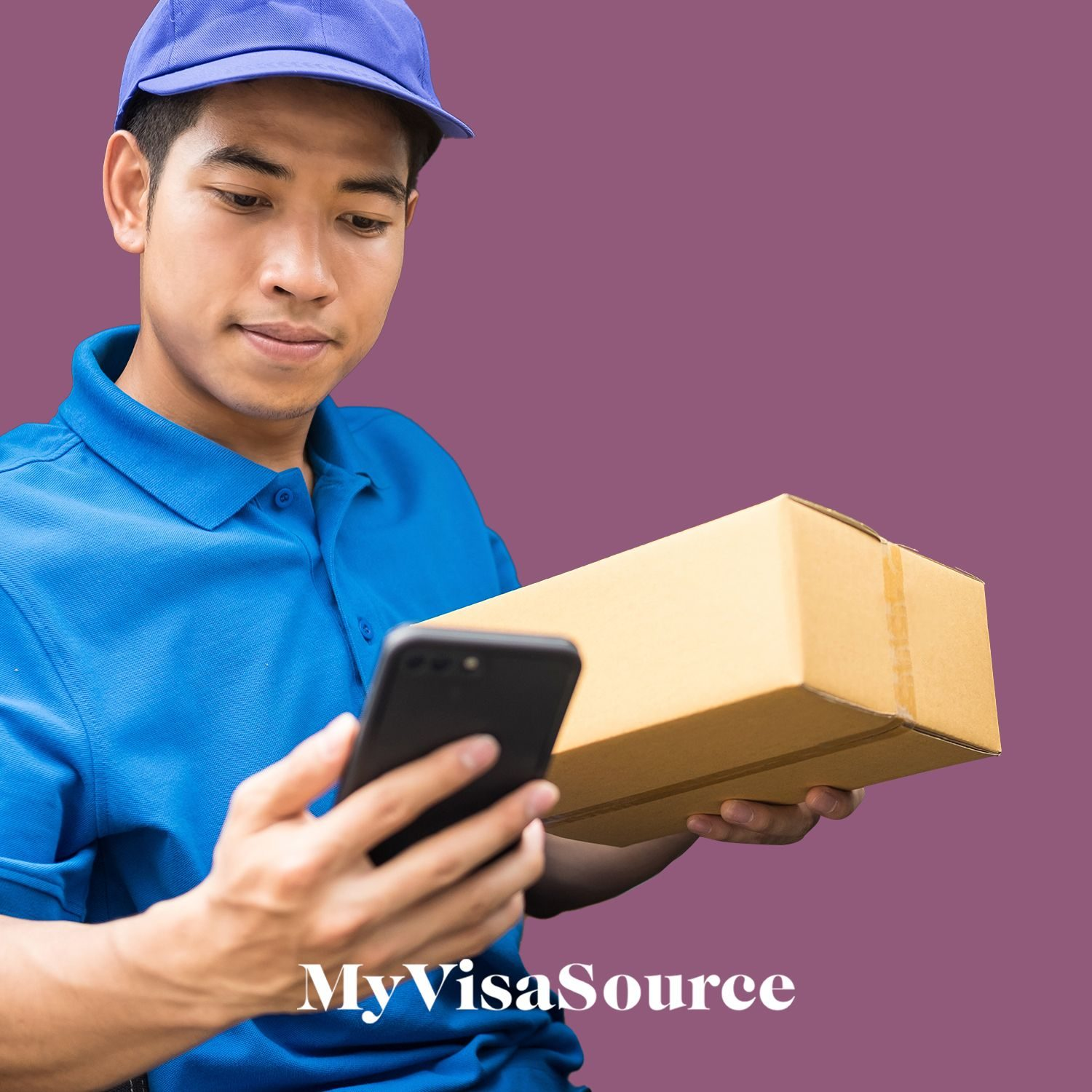 delivery worker holding a package and cellphone my visa source