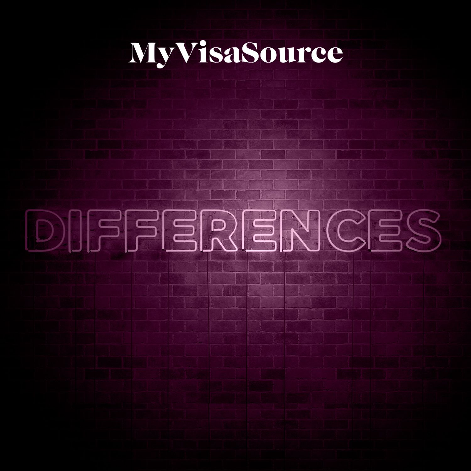 differences in neon lighting on a brick wall my visa source