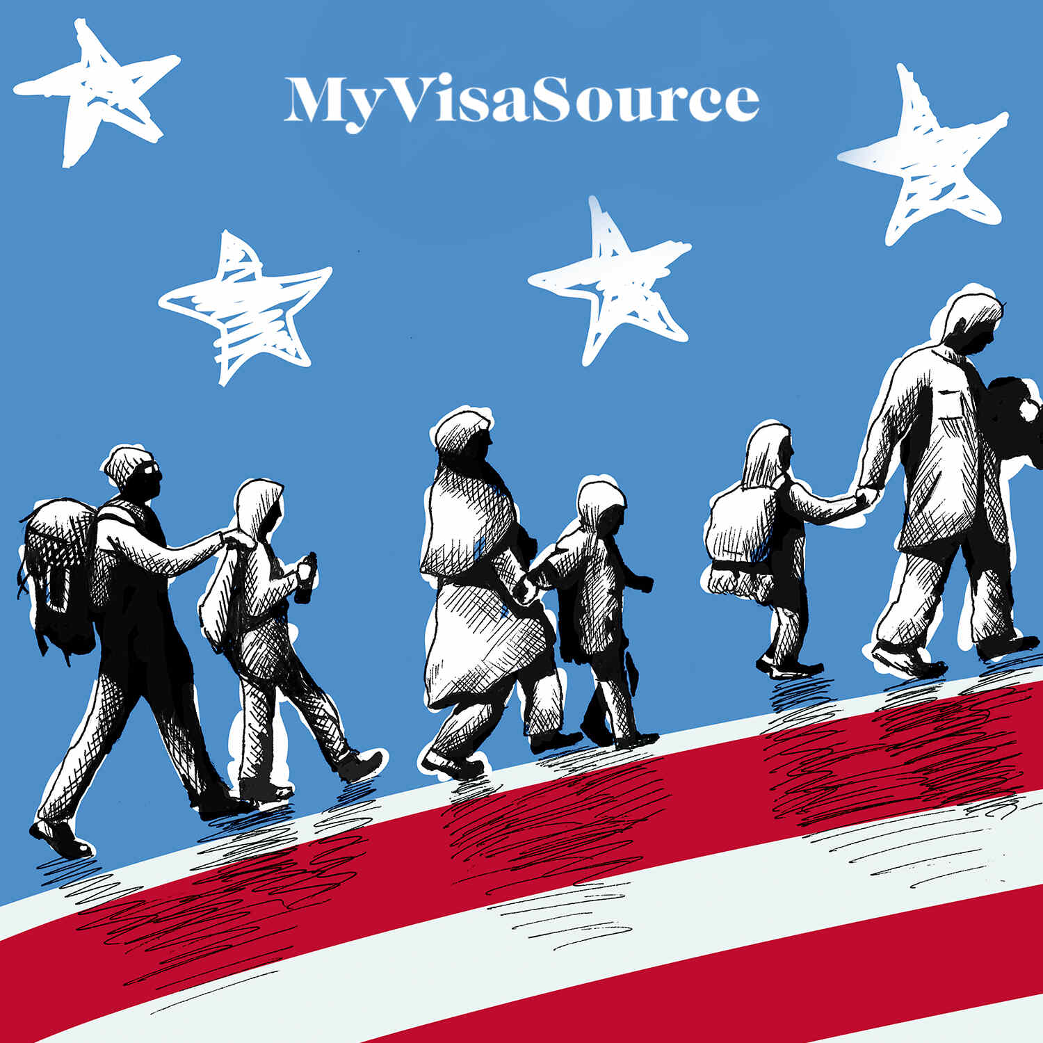 drawing of immigrant families walking with belongings usa flag around them my visa source