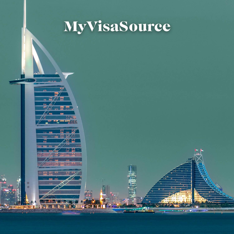 dubai skyline with the burj al arab hotel my visa source