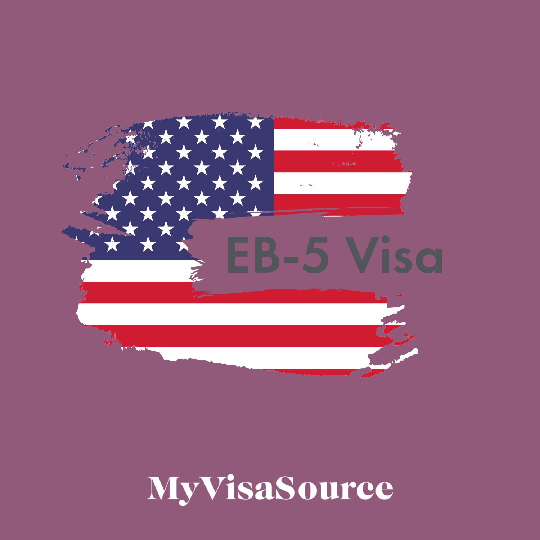 eb5 visa written over artistic rendition of american flag my visa source