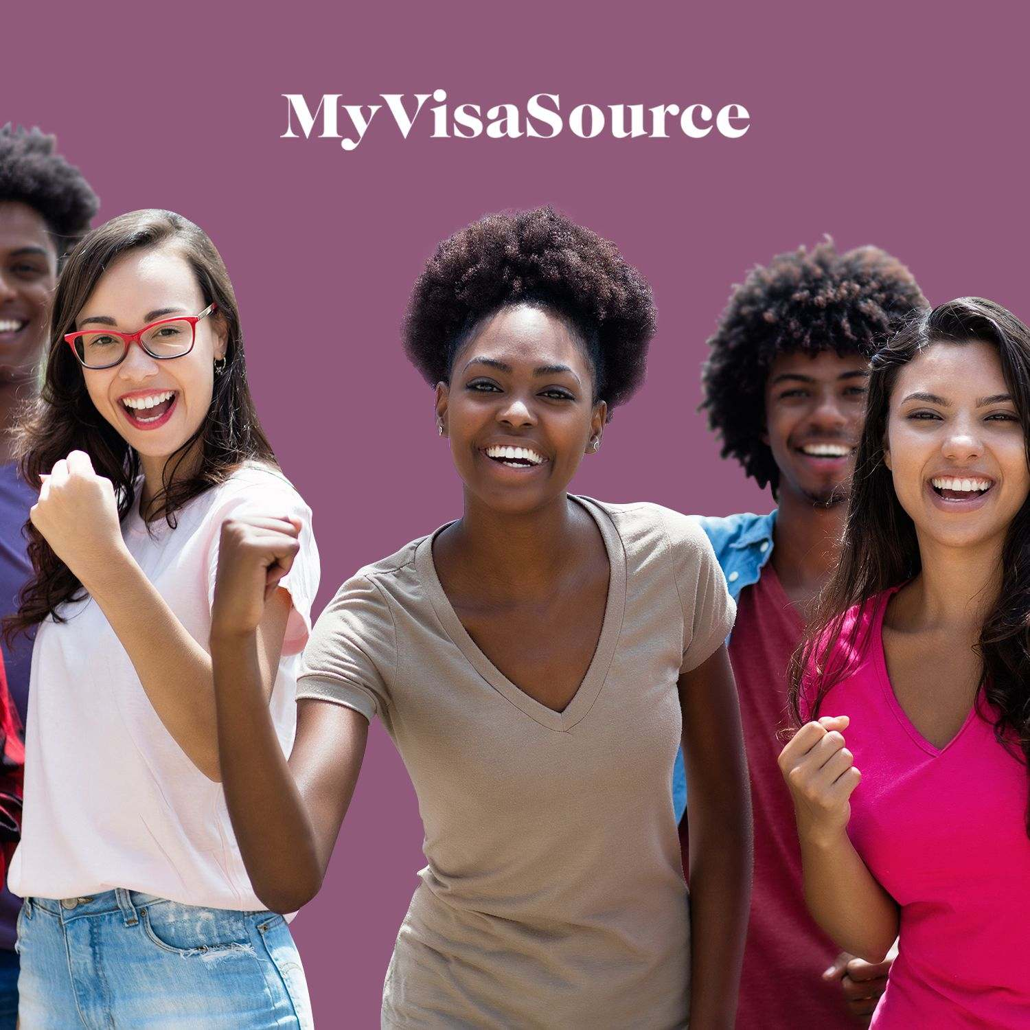 excited group of multicultural students my visa source
