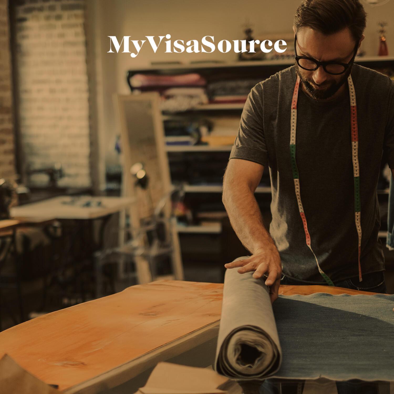 fashion designer working on fabrics