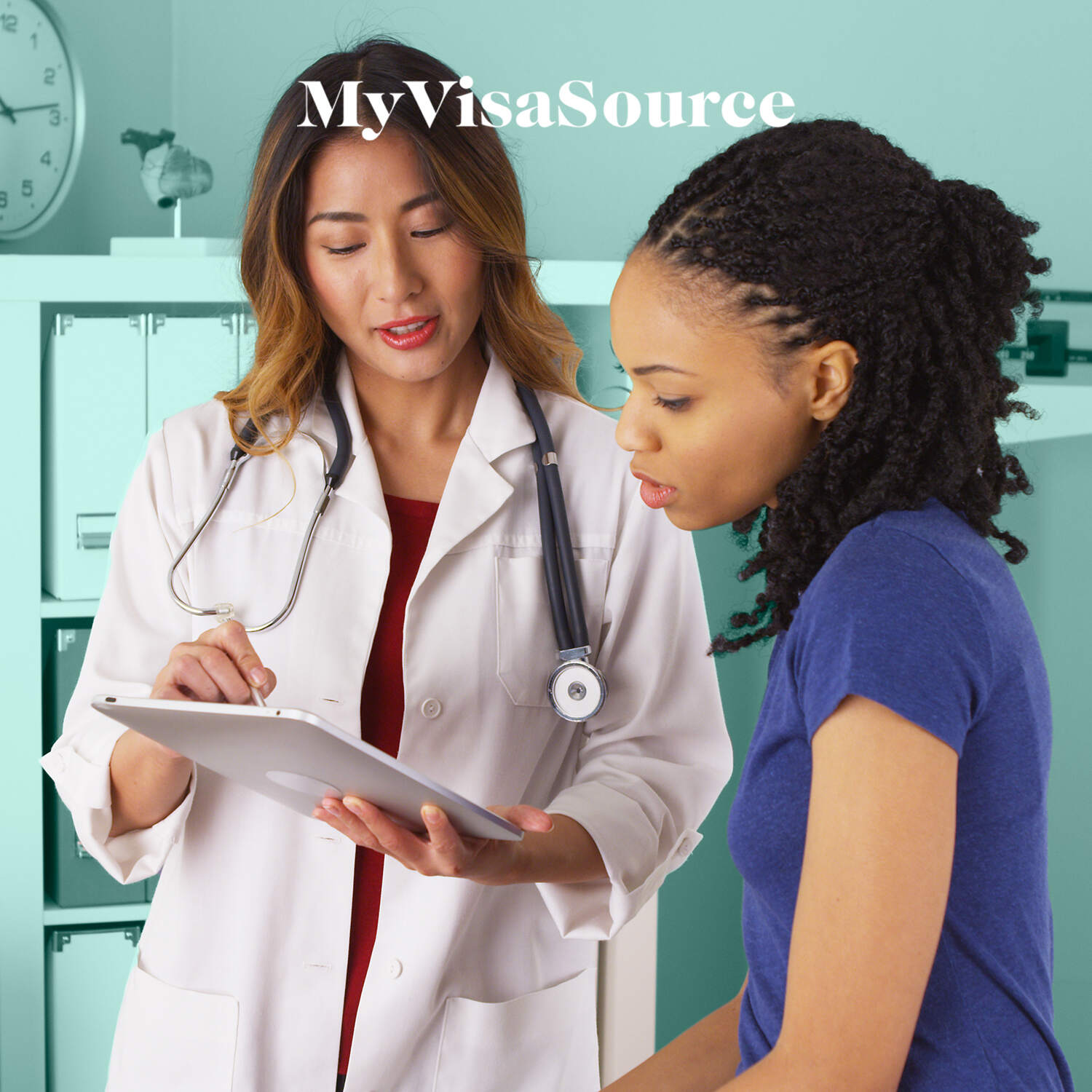 female doctor speaking with female patient my visa source