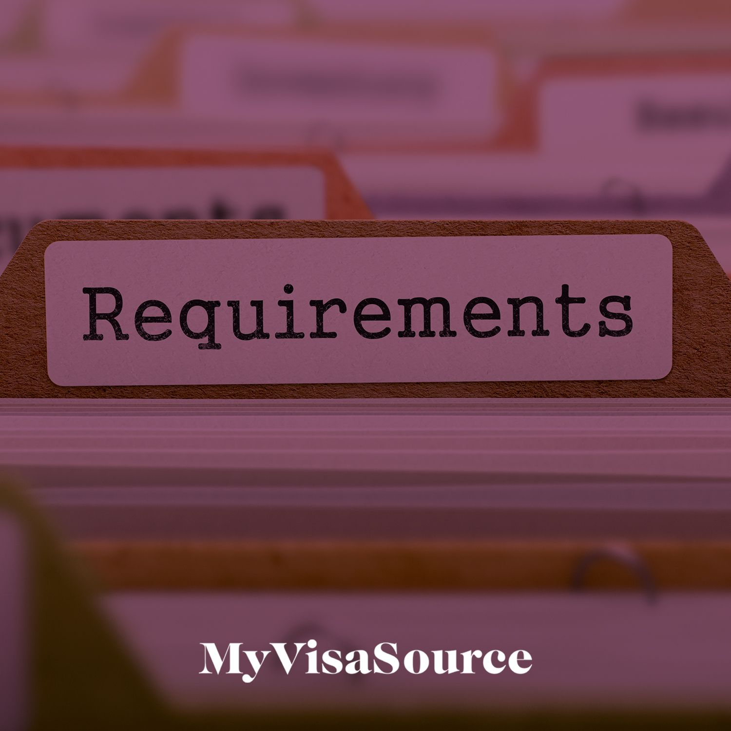 file cabinet with label that says requirements my visa source