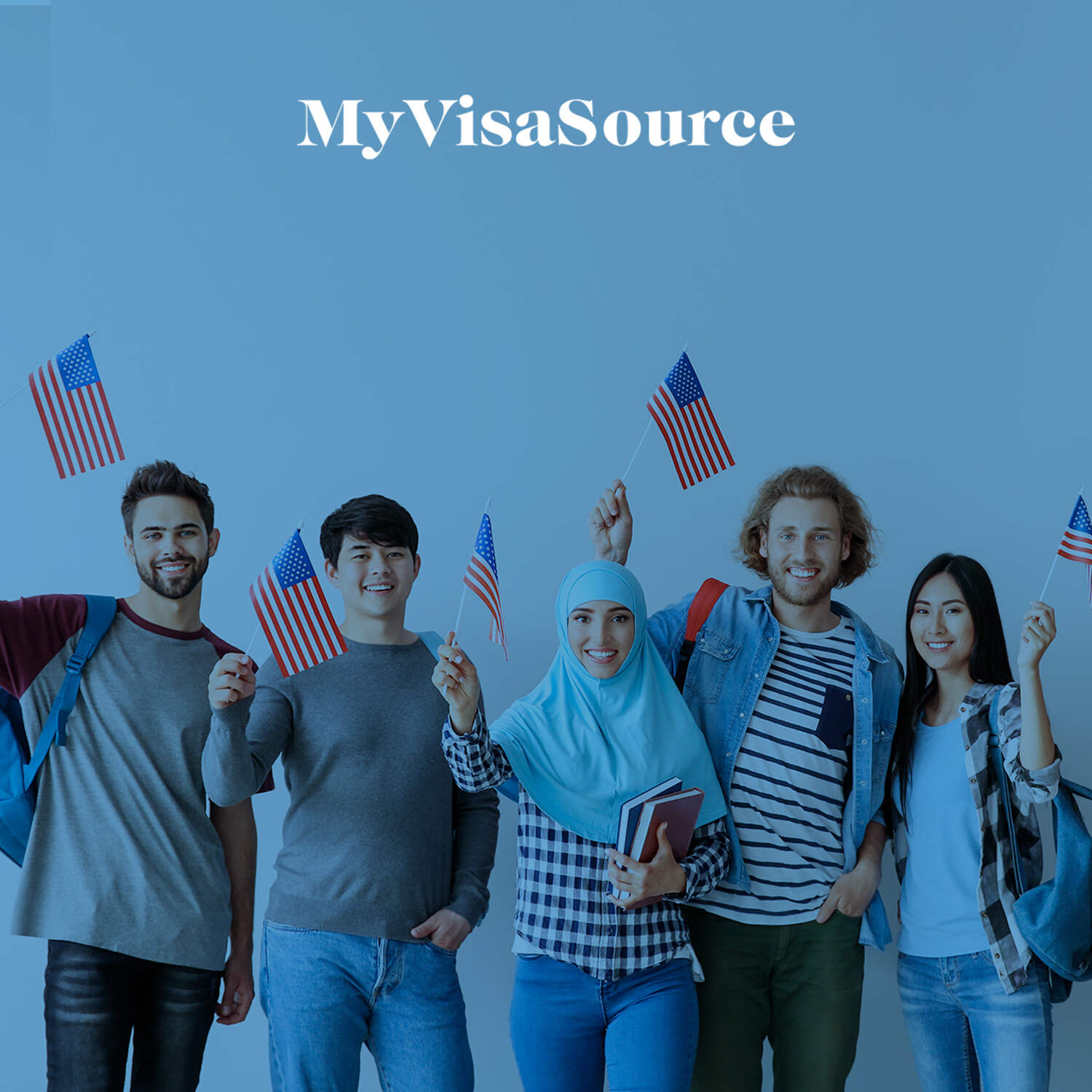 five young people each waving small american flags