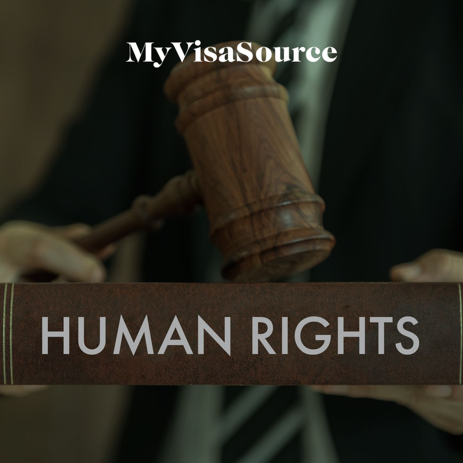 gavel on a book that has human rights written on it my visa source