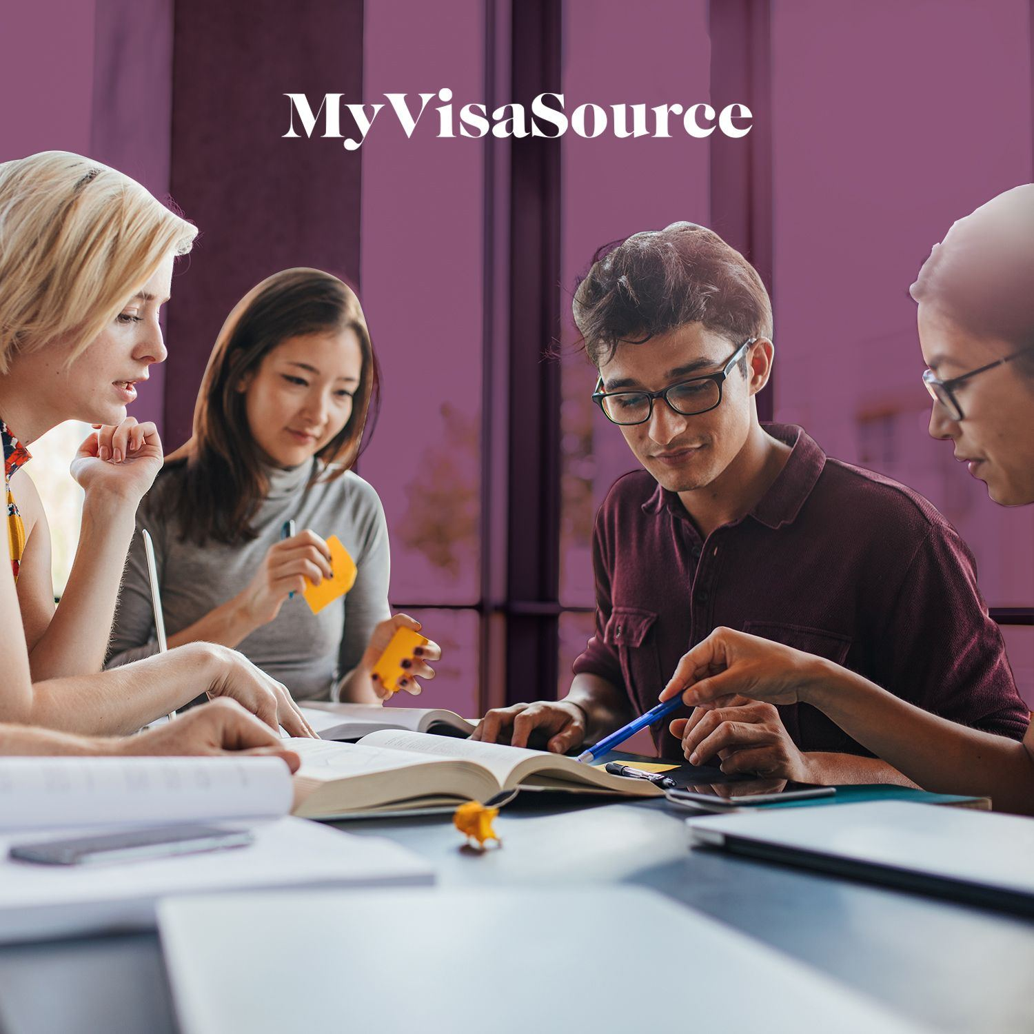 group of young students studying my visa source