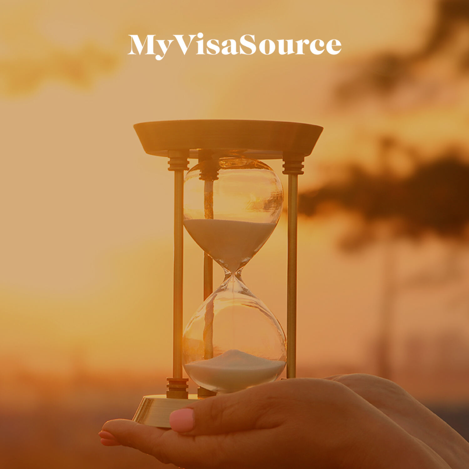 hands holding hourglass in the sunlight my visa source