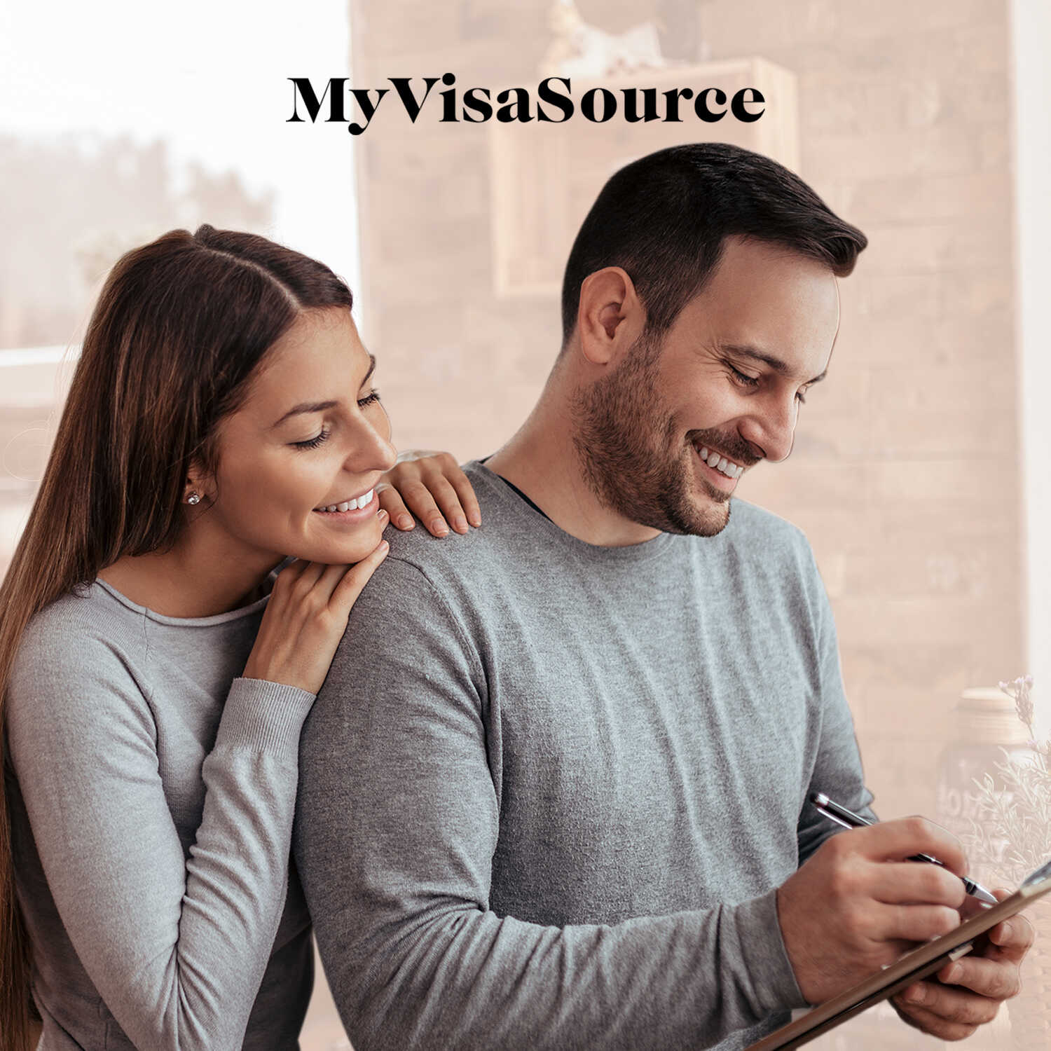 happy couple making list together my visa source