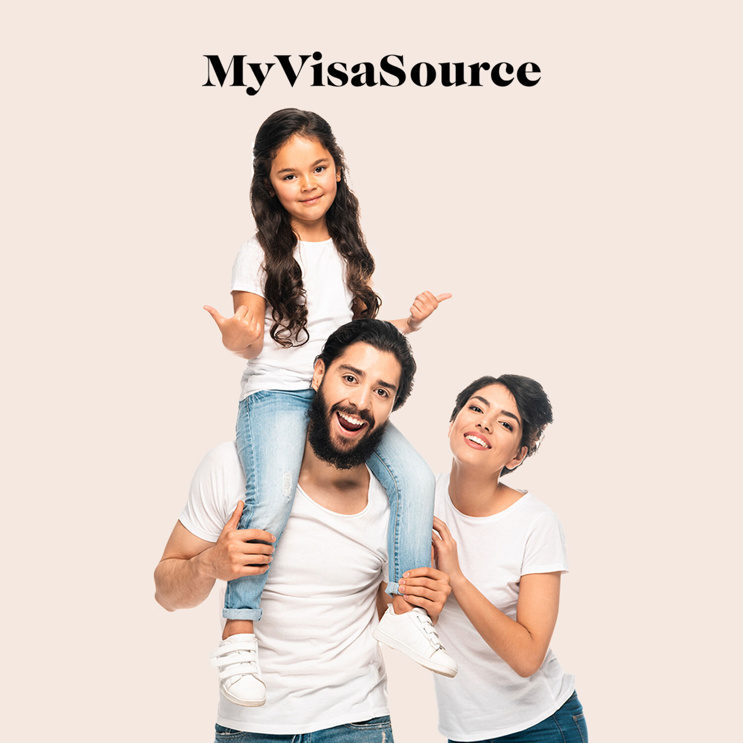 happy family with daughter on fathers shoulders wife beside my visa source