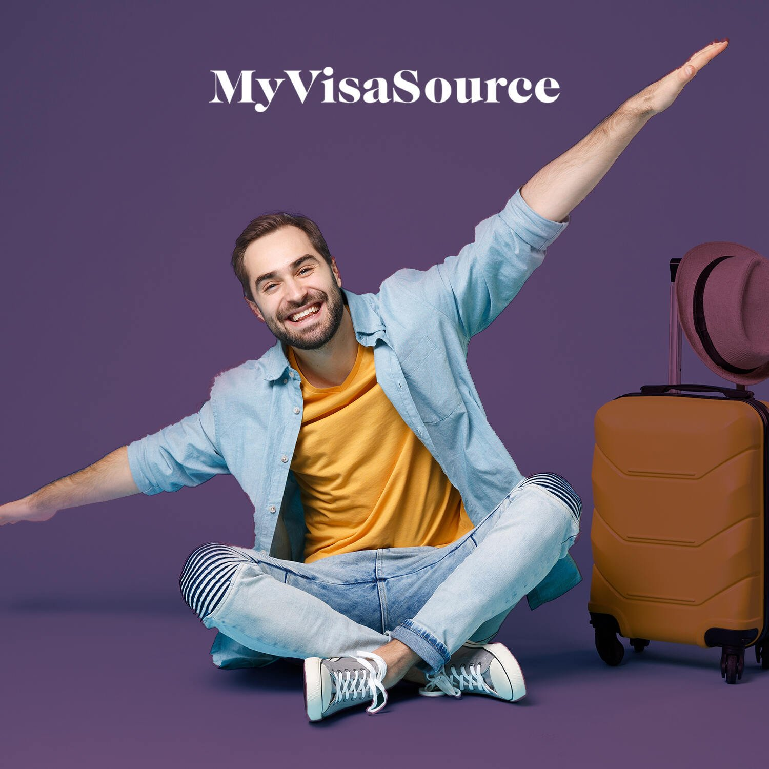 happy traveler with carry on luggage my visa source