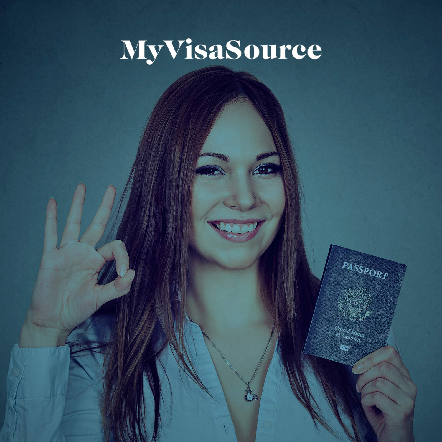 happy woman with a us passport my visa source