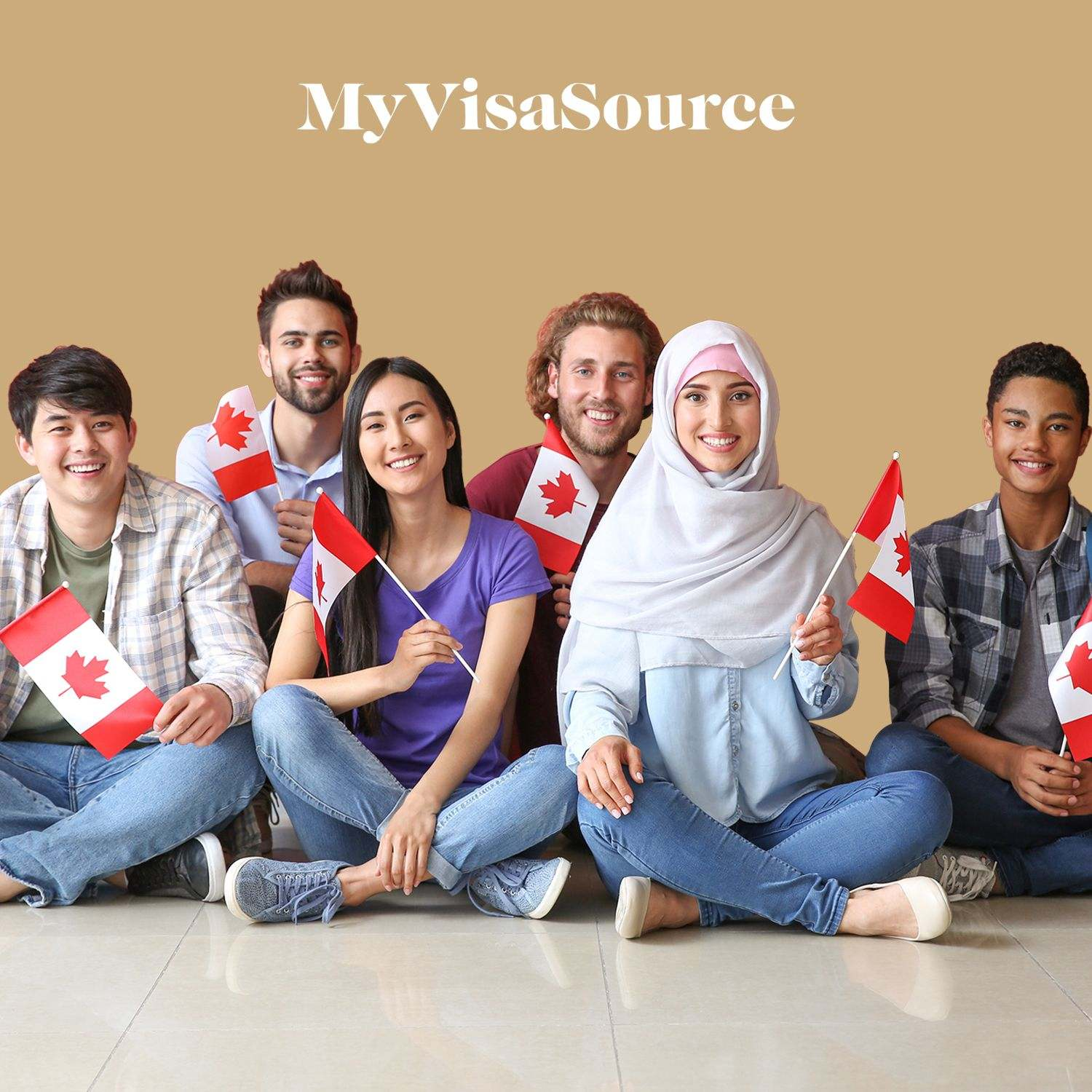 international students each with small canadian flags my visa source