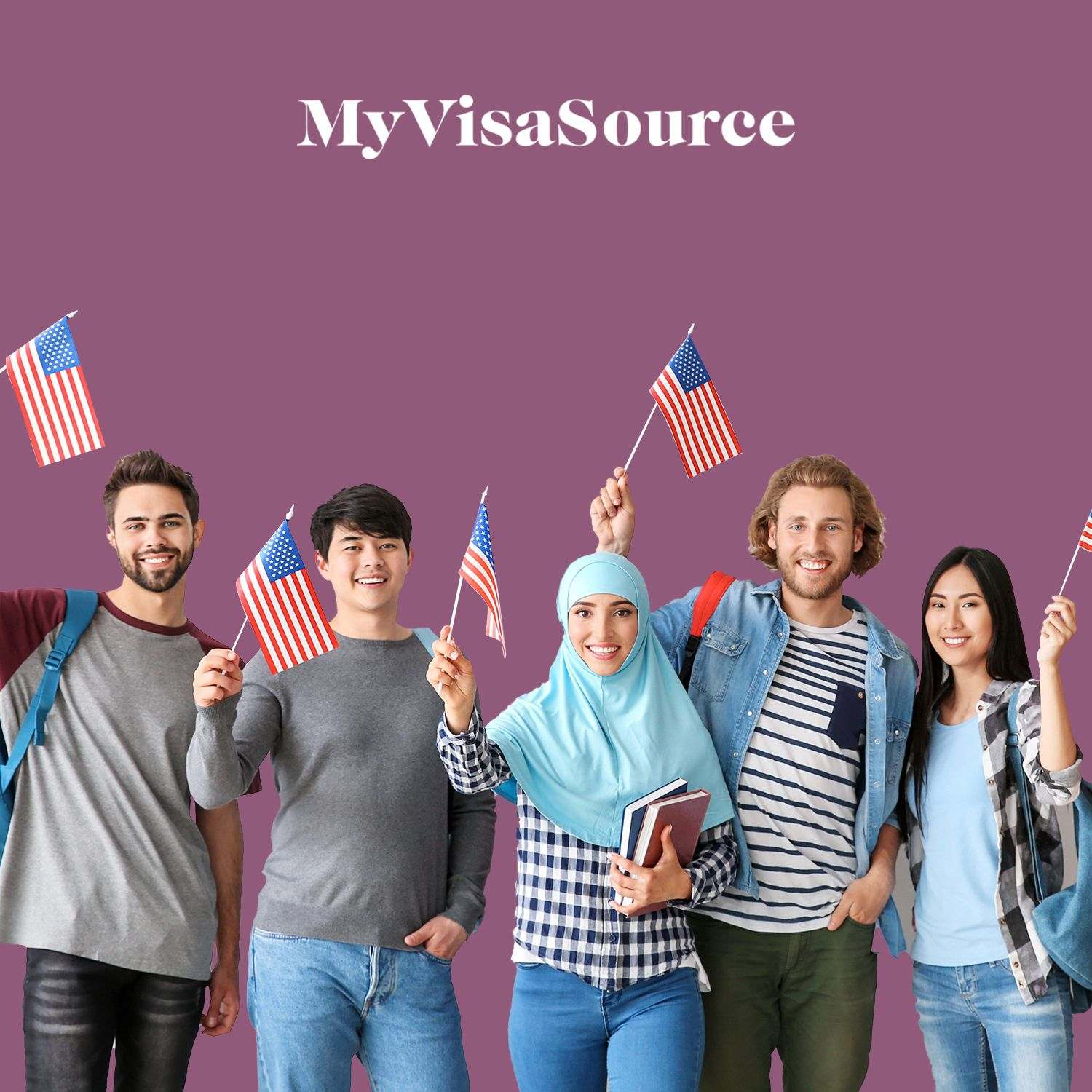 international students holding american flags my visa source