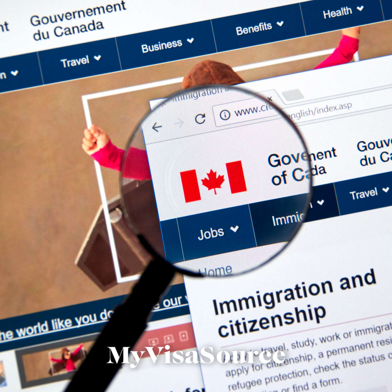 ircc website with magnifying glass over canadian flag my visa source
