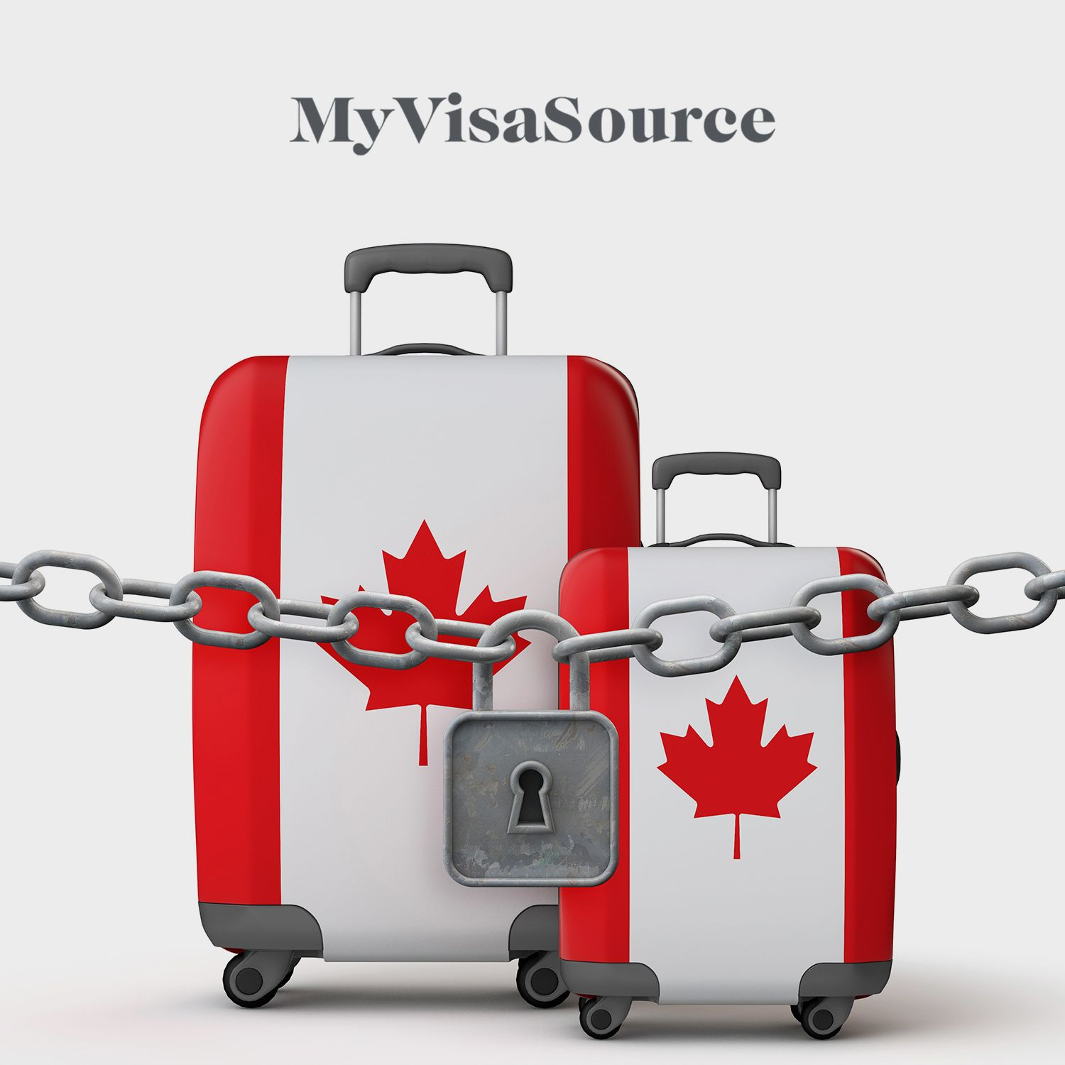locked chain in front of two luggage containers with canada logo my visa source