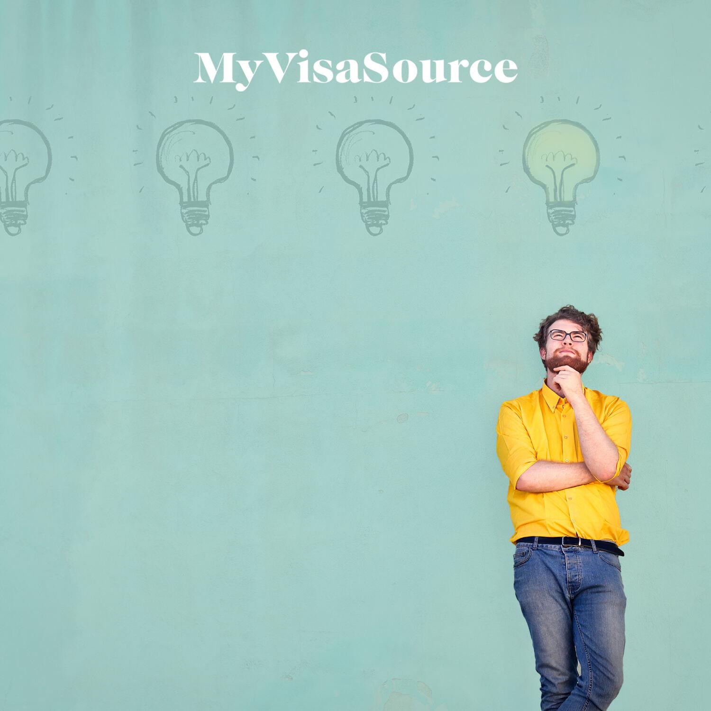 man standing thinking cartoon of lit light bulb above him my visa source